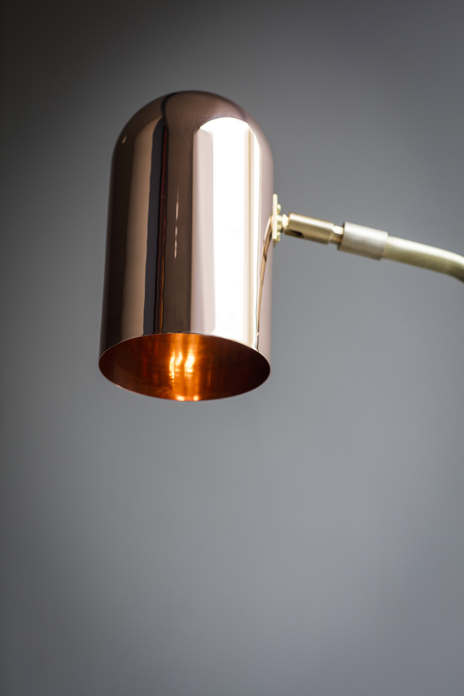 Stasis Floor Lamp - <p><span>Angular lines meet curved contours in the Stasis Floor Lamp. A luxurious solid brass base makes an elegant contrast to a copper shade. The angle of both the arm and shade can be adjusted.</span></p>  | Matter of Stuff