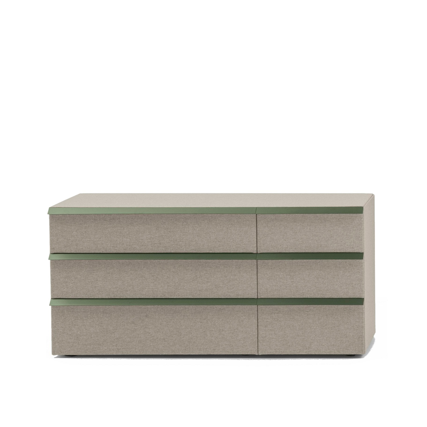 Oikos Chest with 3 Small 3 Big Drawers - Oikos is a collection of containers with linear and clean shapes, entirely covered by fabric and enriched with painted metal handles.‎ It is also possible to customize their top by choosing between lacquered and marble version.‎