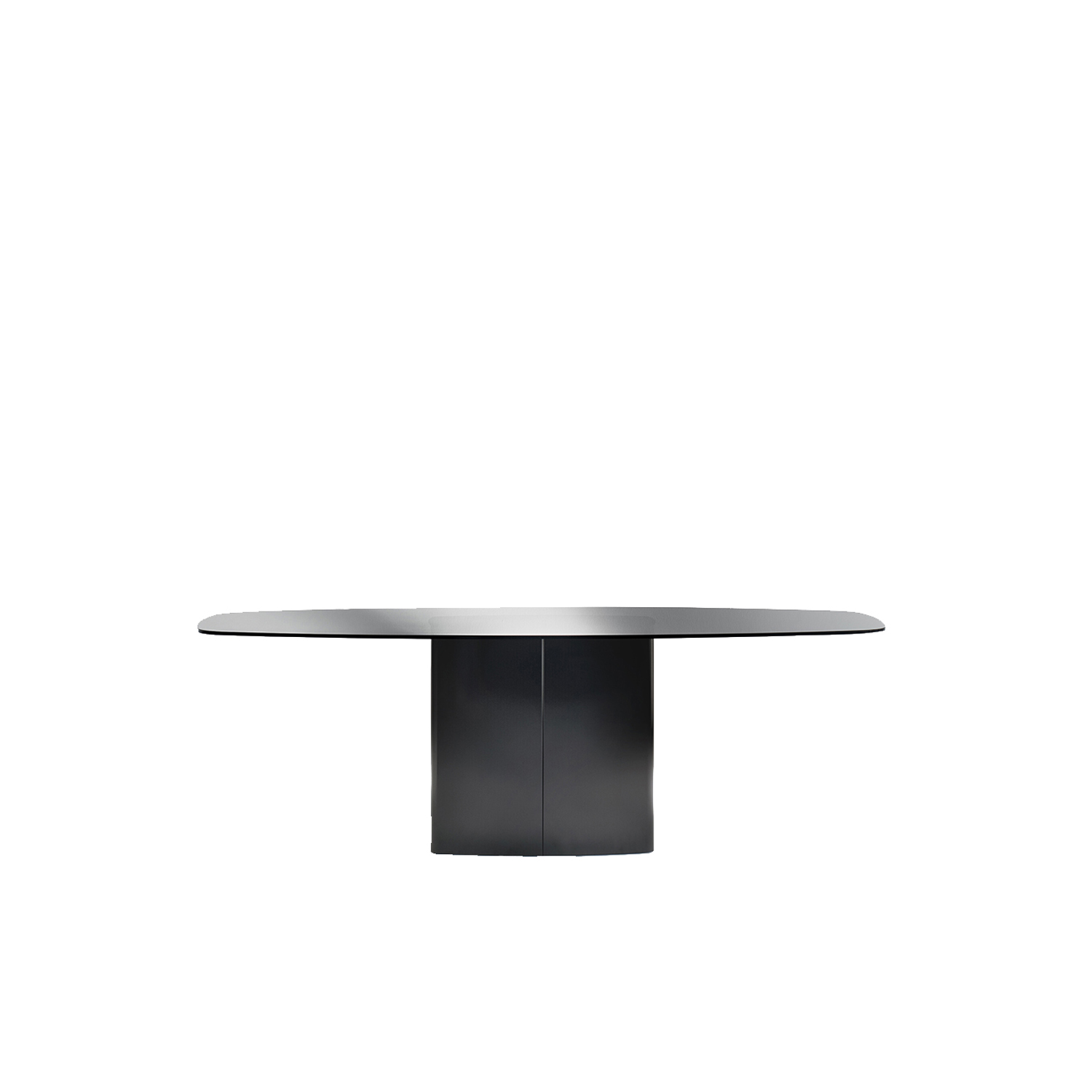 Aero Dining Table - Aero is a table with generous dimensions, simple in appearance but with a strong character. A steel cover split in two shells hides a central rectangular base with rounded corners combined with a refined glass or solid laminate top.