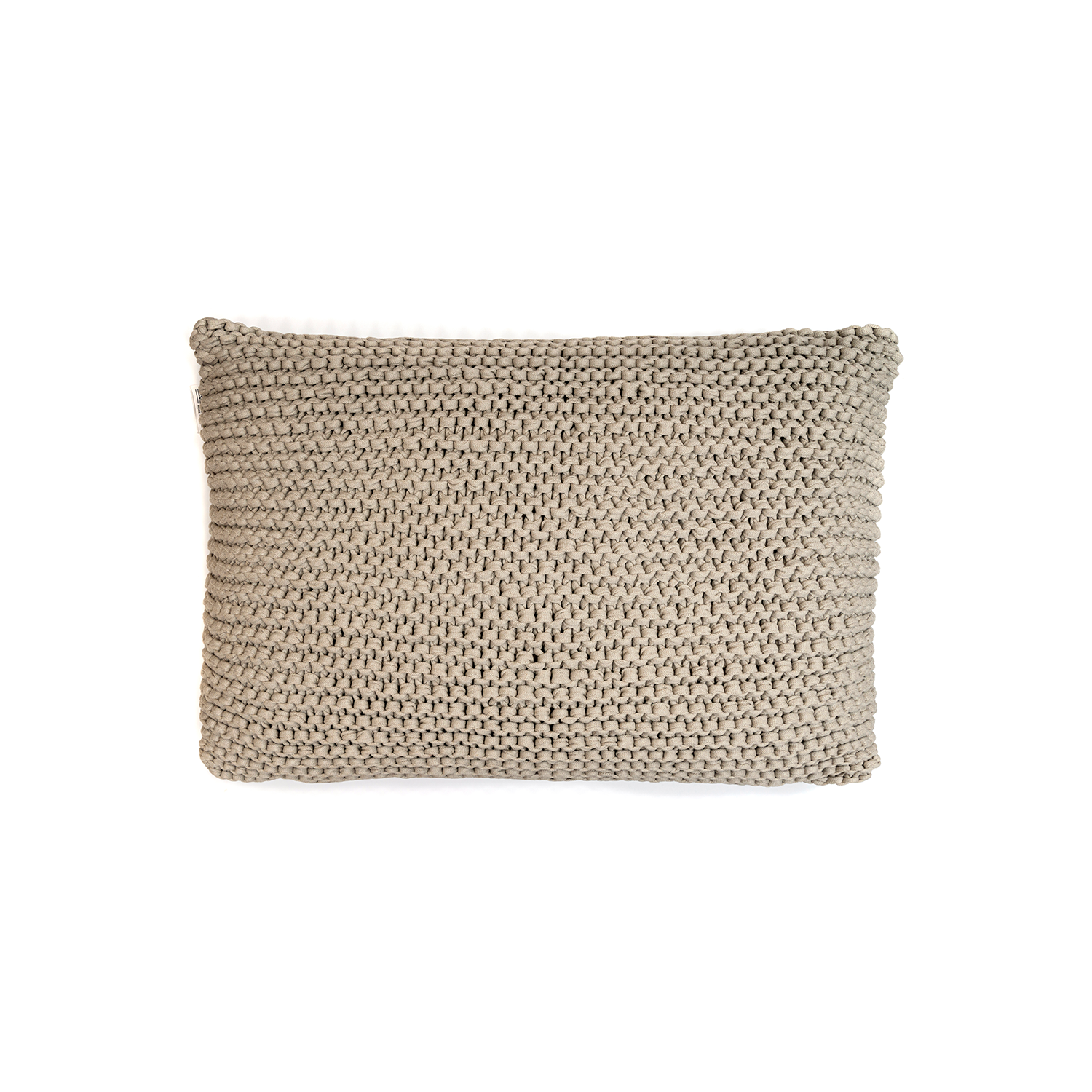 Amsterdam Knitted Cotton Cushion Large - The Amsterdam Line is carefully knitted within a trained community of women that found in their craft a way to provide for their families, each one of these cushions and throws is unique.  Elisa Atheniense Home soft indoors collection is made with natural cotton fibres, eco-friendly, handwoven or elaborated using traditional hand-loom techniques. The use of organic materials brings softness and comfort to the space. This collection combines their mission for responsible sourcing and manufacturing.  The hand woven cotton, washable cushion cover is made in Brazil and the inner cushion is made in the UK. All cushions come with Hollow Fibre filling. European Duck Feathers are optional upon request at an extra cost. Please enquire for more information and see colour chart for reference.   | Matter of Stuff