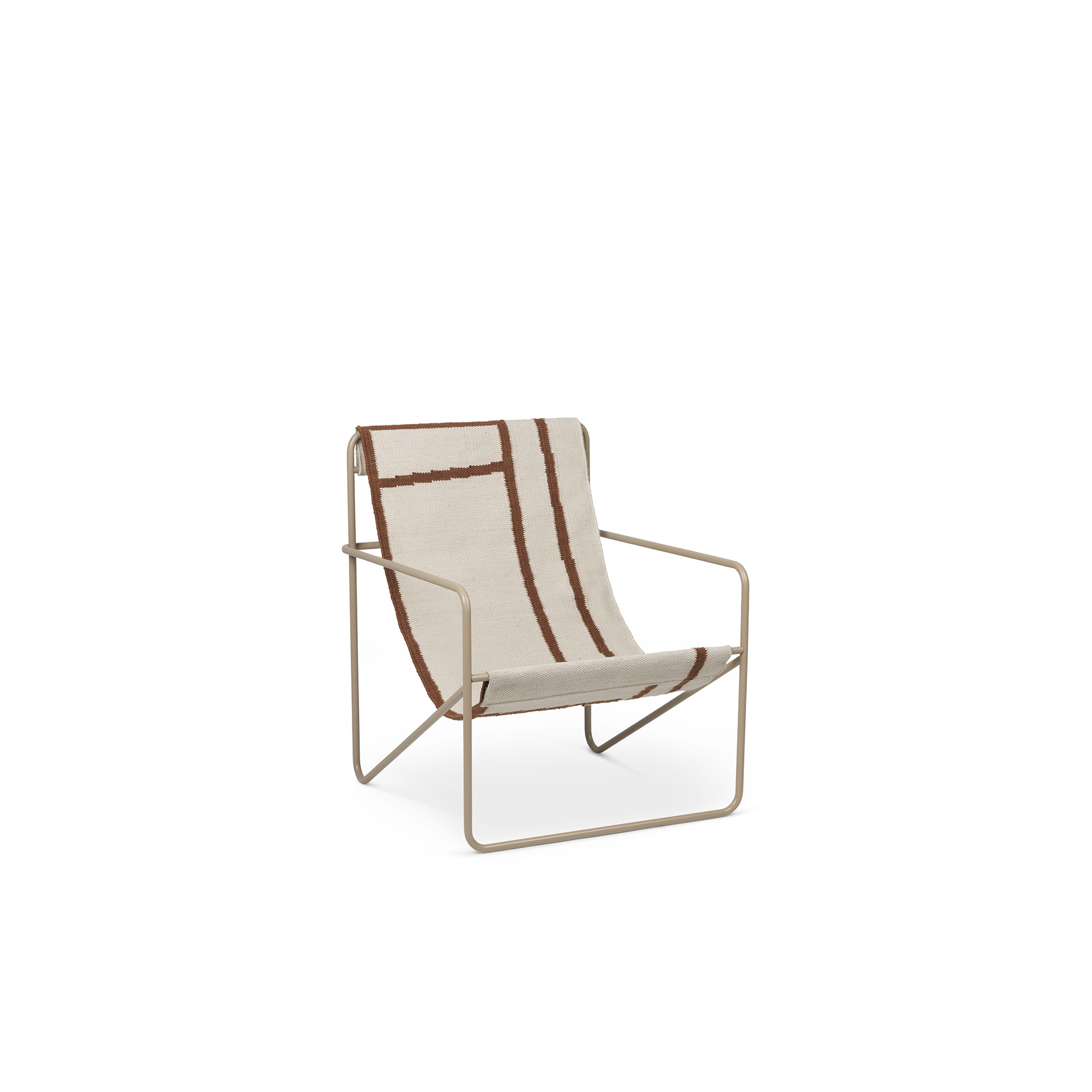 Desert Lounge Chair Shapes - <p>A Modernist chair with a graceful profile, Desert Chair is crafted from a tubular powder-coated steel frame in colours Black or Cashmere, holding an interchangeable woven textile seat made from recycled plastic bottles, available in four designs: Soil, Stripes, Shapes or Solid Cashmere. Suitable for use both indoors and out, the lounge design invites relaxation. Just sit back and enjoy.</p>  | Matter of Stuff