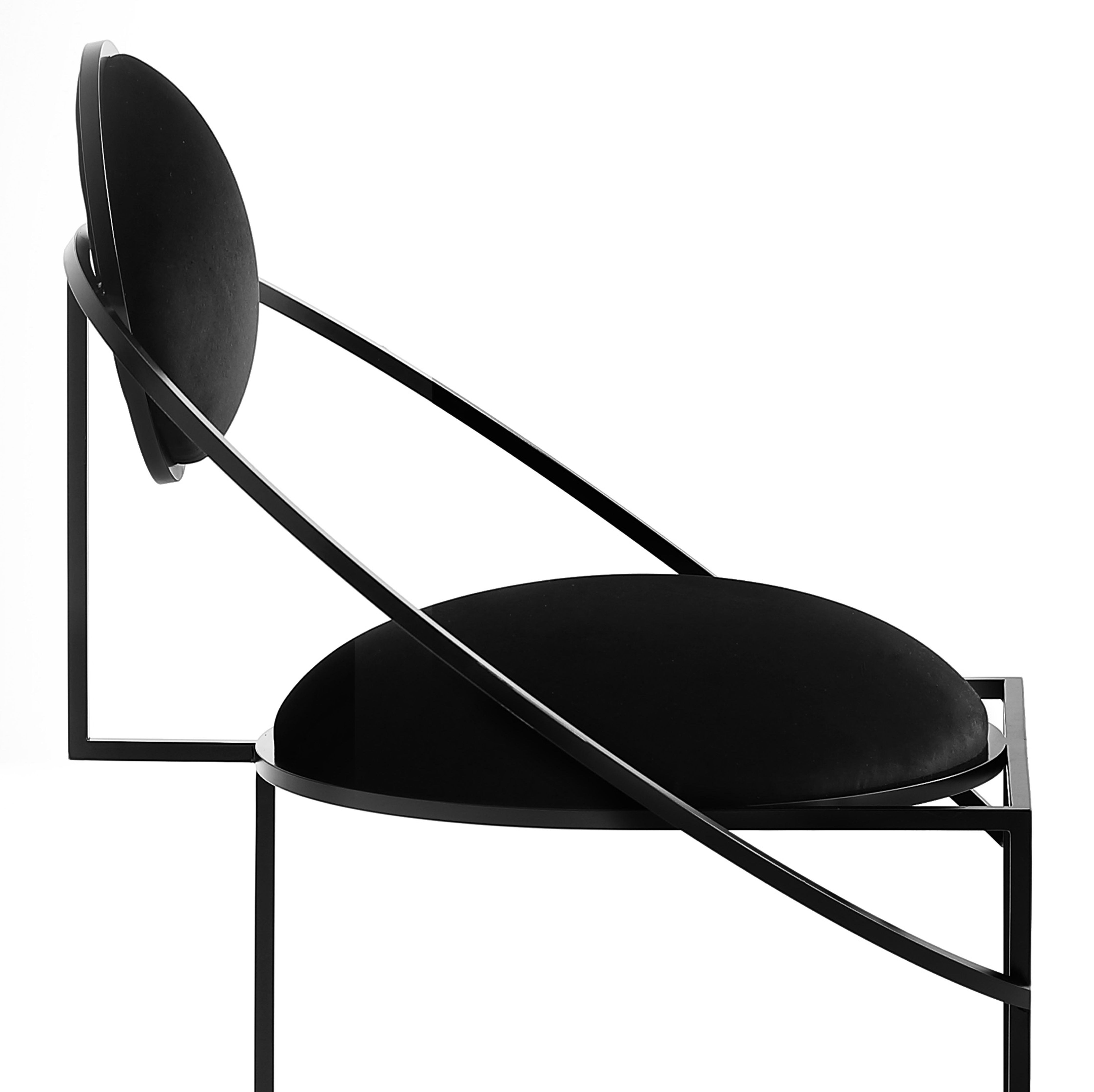 Orbit Armchair - <p>In the collection, Lara Bohinc develops her stellar themes, finding inspiration in planetary and lunar orbits, whose gravitationally curved trajectories drive the lines and shapes of the chairs. Constructed from thin square rod, the chairs are elegant, minimal and delicate. They are finished in galvanised steel and wool fabrics by Kvadrat.</p> <p>The Orbit chair is available with or without circular armrest.*</p>  | Matter of Stuff