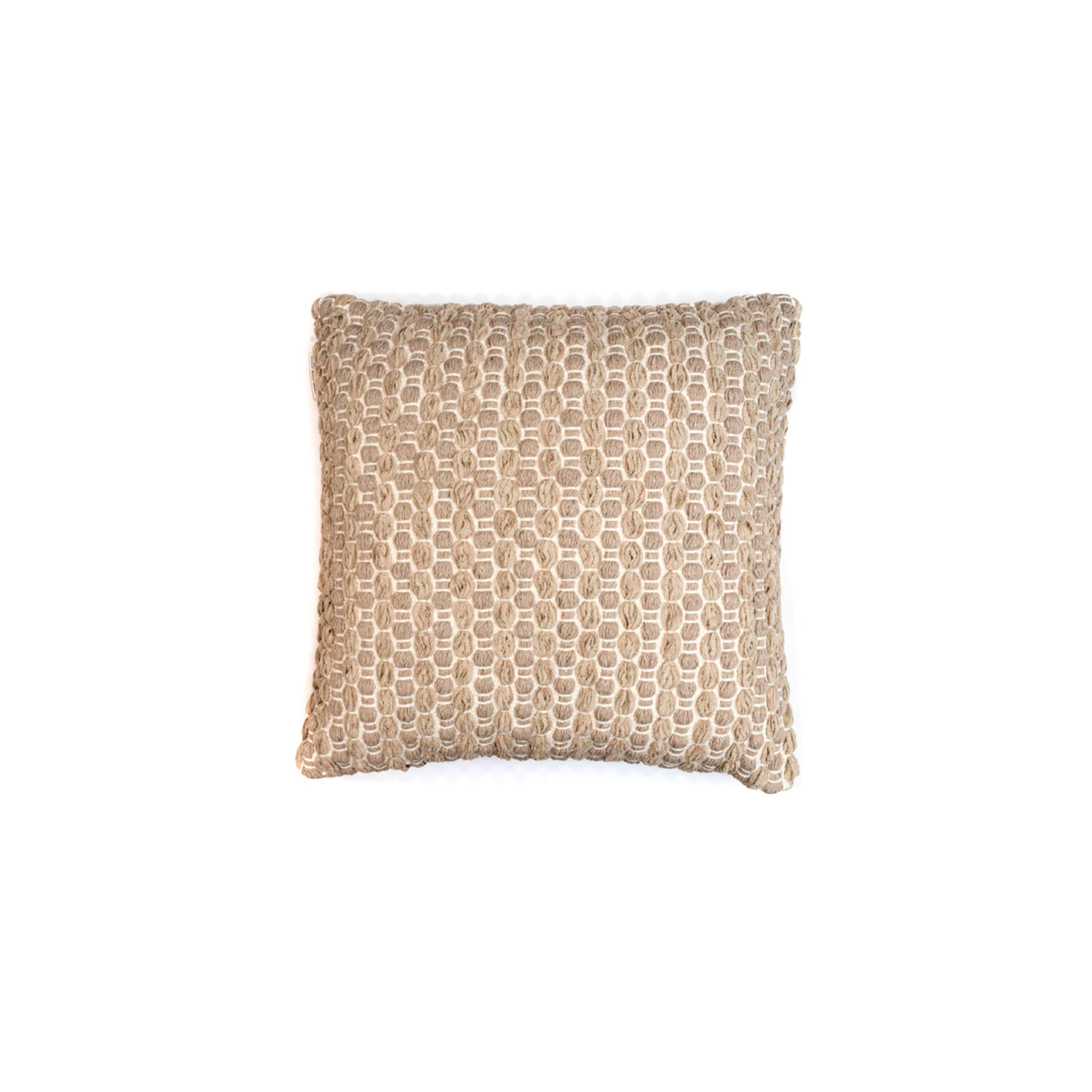 Estrela Terra Cotton Cushion Square - The Flame Sustainable Collection is made from a selection of organic cotton fibres, eco-friendly, hand-woven or elaborated using traditional hand-loom techniques. Carefully knitted within a trained community of women that found in their craft a way to provide their families.  This collection combines Elisa Atheniense mission for responsible sourcing and manufacturing. Each piece is meticulously hand-loom by artisans who practised methods with age-old techniques. With a minimal electricity impact, each item crafted is therefore unique and exclusive. Weavers and artisans are the ultimate lifelines of Elisa Atheniense Home Products.  The hand woven cotton, washable cushion cover is made in Brazil and the inner cushion is made in the UK.   | Matter of Stuff