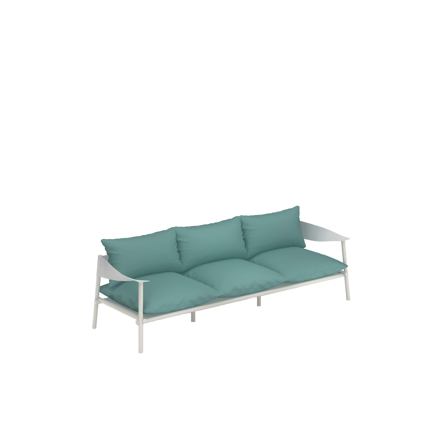 Terramare Three Seater Sofa - Welcoming shapes and wide dimensions characterise the Terramare collection by Studio Chiaramonte-Marin, ideal for cosy and personal settings both indoors and outdoors. A complete range of furniture for both dining and living areas. This sofa has a frame made from aluminium and armrests in eco-leather. This sofa does not come with cushions. Please enquire for more details.   | Matter of Stuff