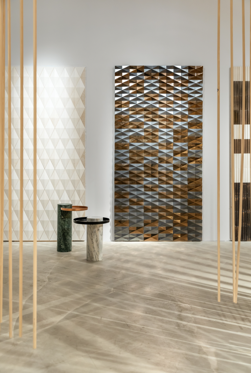 Inverted Diamond by Gio Ponti - Inverted diamond 3d tiles are designed by Gio Ponti.  These ceramic tiles are sized 10x20cm and perfect to decorate exterior facades and interior walls, adding a geometric sense of movement and creating 3D surfaces profiles that playing with shadow and light. Inverted diamond tiles are produced in accordance with a hand-crafted technique which makes the material heterogeneous, both in the effects on the surface and in the dimension of the pieces. Custom glazing colours and effect are available.  Get in touch to produce a bespoke profile at bespoke@matterofstuff.com  | Matter of Stuff
