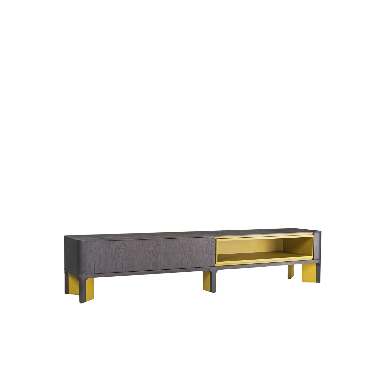 Acro-Bat 005 Sideboard - T.V. unit in various sizes – ground sideboard with open space and one push-soft closing drawer in wood and lacquer - base in two sections in wood and lacquer or total lacquered. Extra open space and internal drawer always lacquered as base.