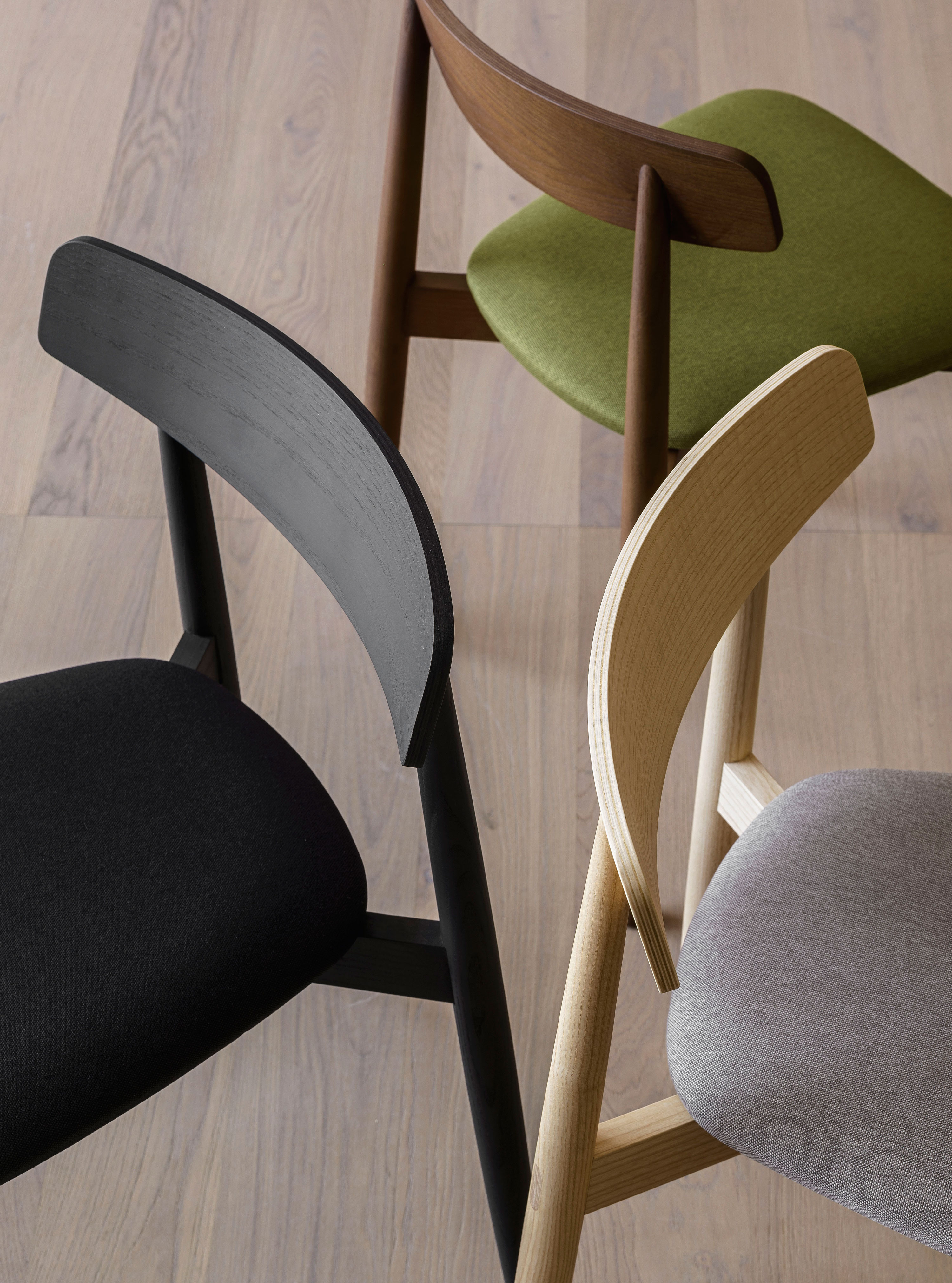 Claretta Chair - A chair with a sweet expression, reminiscent of the post-impressionists Parisian bistros. Stackable up to 5, it is also available in bold or with armrests. A range of upholstery fabrics, materials and colours are available in a number of combinations. Prices may vary. Please enquire for full details.    Matter of Stuff