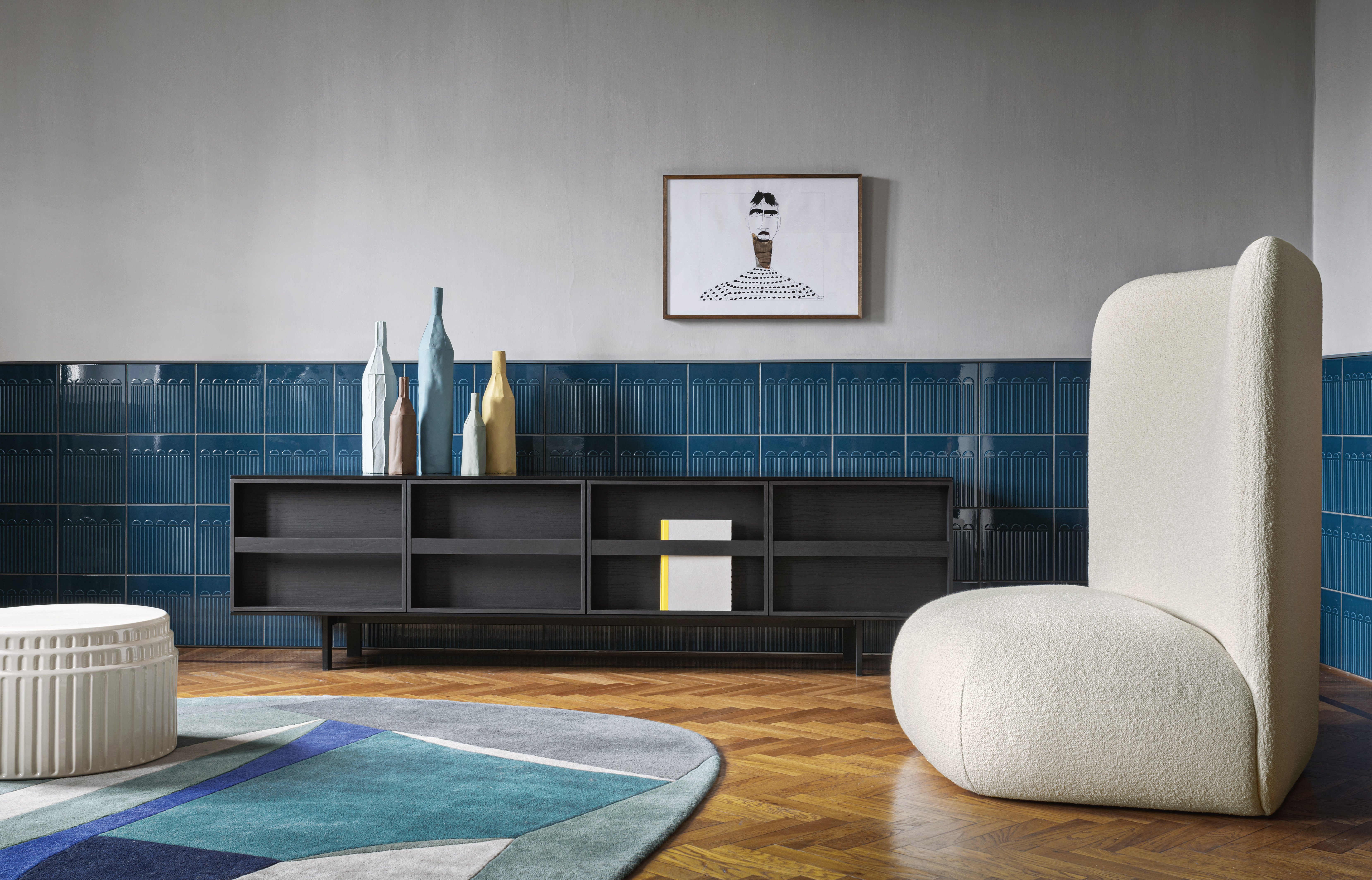 Ramblas Large Sideboard - Evocative, with thin wooden lines and a minimalist charm. The sideboard is characterized by doors designed as a library and equipped with an effective book-like opening system. It is available in three different sizes.  | Matter of Stuff