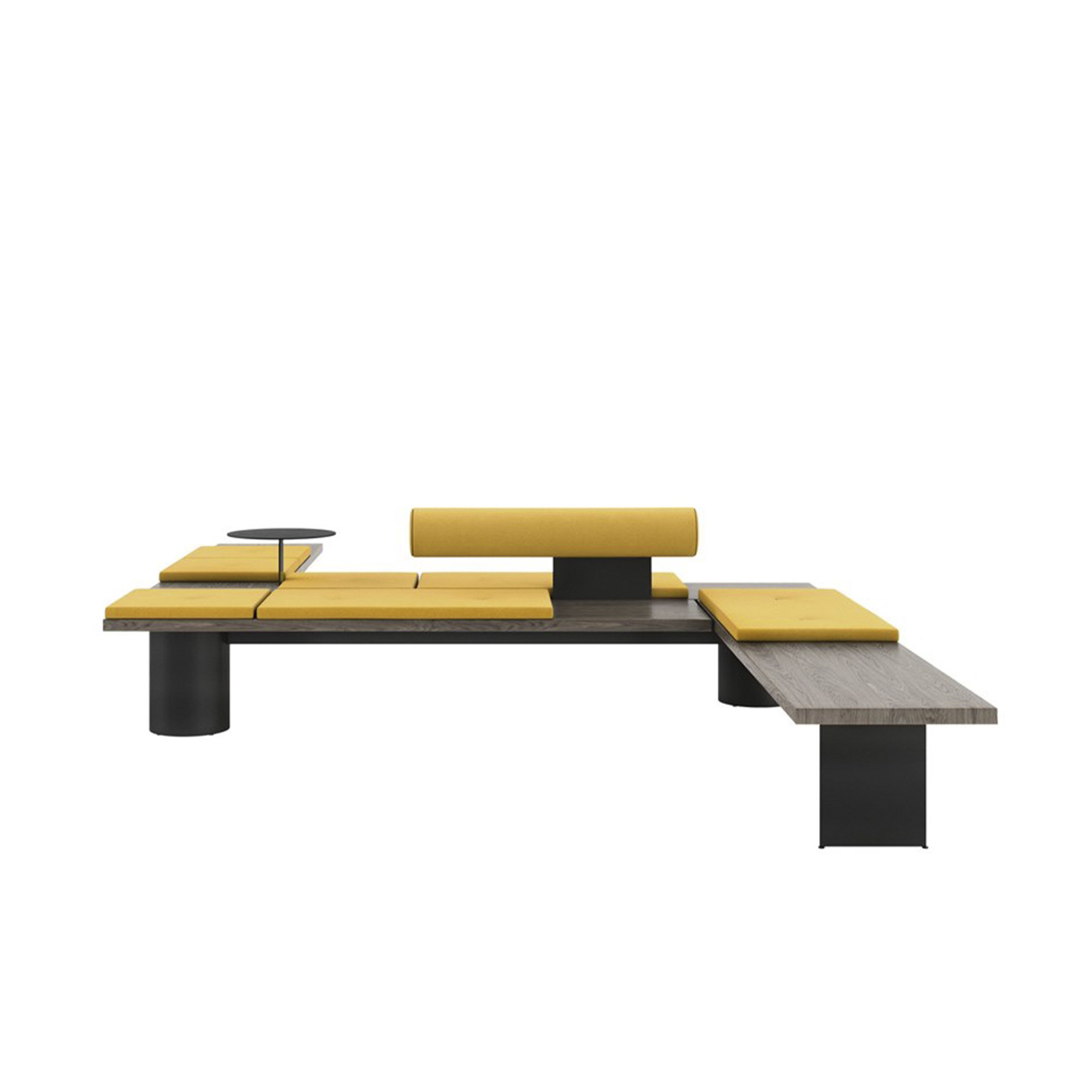 Galleria Modular Bench - Galleria is a complete design with the versatility to create a vast range of different solutions: a linear bench, a double corner seat, an island perfect for waiting, relaxation and conviviality.‎ And all this is developed around a simple steel bar, onto which to freely attach the various simple, geometrically-shaped elements in wood, leather, fabric, marble and metal painted in a range of colours.‎ Each composition can be used on its own or in groups, offering endless possibilities for use that will blend beautifully with any space or style.‎