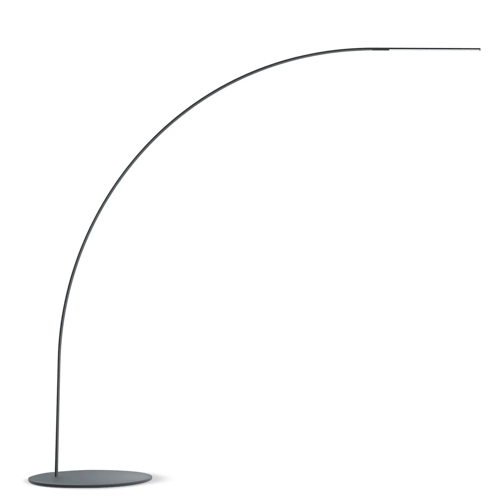 Yumi Floor Lamp - Yumi means bow in Japanese. Today, this simple shape is re-interpreted by Shigeru Ban for FontanaArte. Its absolute harmony is destined to turn into a new universal classic. Yumi is both delicate and strong: an essential sign that meets a resistant and light structure. 170 LEDs are discreetly sunk into the structure of the lamp minimising the use of space and further enhancing the continuous line of the bow design. Choosing materials that are resistant to high temperatures made it possible to sink the wiring entirely inside the stem during the production process. Yumi spreads a warm downward glow which is ideal forcreating an intimate atmosphere. It adds character to different interiors with its distinct but subtle personality.  Floor lamp with direct and dimmable light. Painted aluminium frame. Painted metal base. Black power cable, dimmer and plug. Plug-in power supply with interchangeable plugs (UK - USA - UE - AUS). Integrated led. | Matter of Stuff