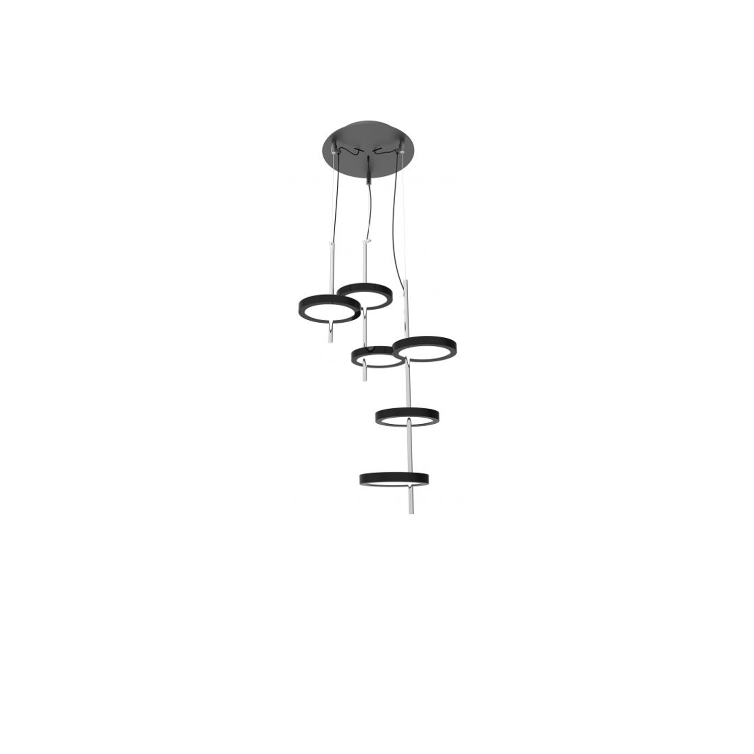Nenúfar Pre-Set Pendant Light - The Nenúfar is a cluster of LED pendants, composed of several discs attached to a central stem. Each disc is distinct, separated from the others in a way that the downward beams do not intersect or interfere, but combine for a uniform, direct beam. The result is an item that is midway between decorative and architectural, and be applied to both purposes with ease. The outcome of the designer's arduous quest to create a fixture that seems to float on air, the Nenúfar takes its name and its delicate shape from the water lily. Sober and well finished, the Nenúfar utilizes top-quality materials and the power of LED to radiate an exquisite luminosity and create warm, welcoming atmospheres.  This fixture is in its element installed in a series—creating areas lit at different heights and with various combinations of discs—or on its own as a surprising, well balanced and subdued centerpiece. Choose from one, two, or three black discs supported by a polished chrome stem.  This fixture is available in pre-set configurations of 3, 5, 7, and 9 units, to ease installation. Please enquire for more information and prices | Matter of Stuff
