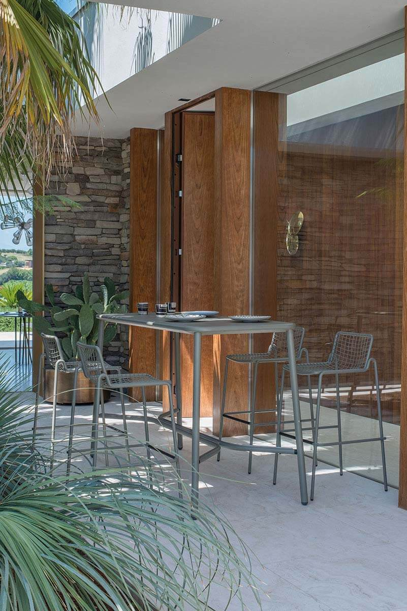 Rio R50 Barstool - Set of 4 - <p>RIO R50 is an expertly crafted re-edition of the historic model Rio of the 70s. RIO R50 has a frame in ASFORM steel tube, high-quality steel with high mechanical performance and high resistance to weight. </p> <p>The manufacturing process creates a strongly characterized sign, a letter R, which is identified in the junction between seat and backrest. All structural weldings are made with Mig technology which gives great resistance to stress and rust risk; meanwhile the net, composed by steel wires, is electro-welded to the frame for a more precise aesthetics. </p> <p>Like all EMU products, a cataphoresis pretreatment is provided and then a thermosetting powder coating treatment, which finally produces a layer of homogeneous paint in terms of thickness with a high level of adherence and resistance. Nylon feet supports make it easy to move and protect the product.</p> <p>RIO R50 is a complete seats collection composed by dining chair and armchair, lounge armchair, swing armchair, stool and coffee table.</p>  | Matter of Stuff