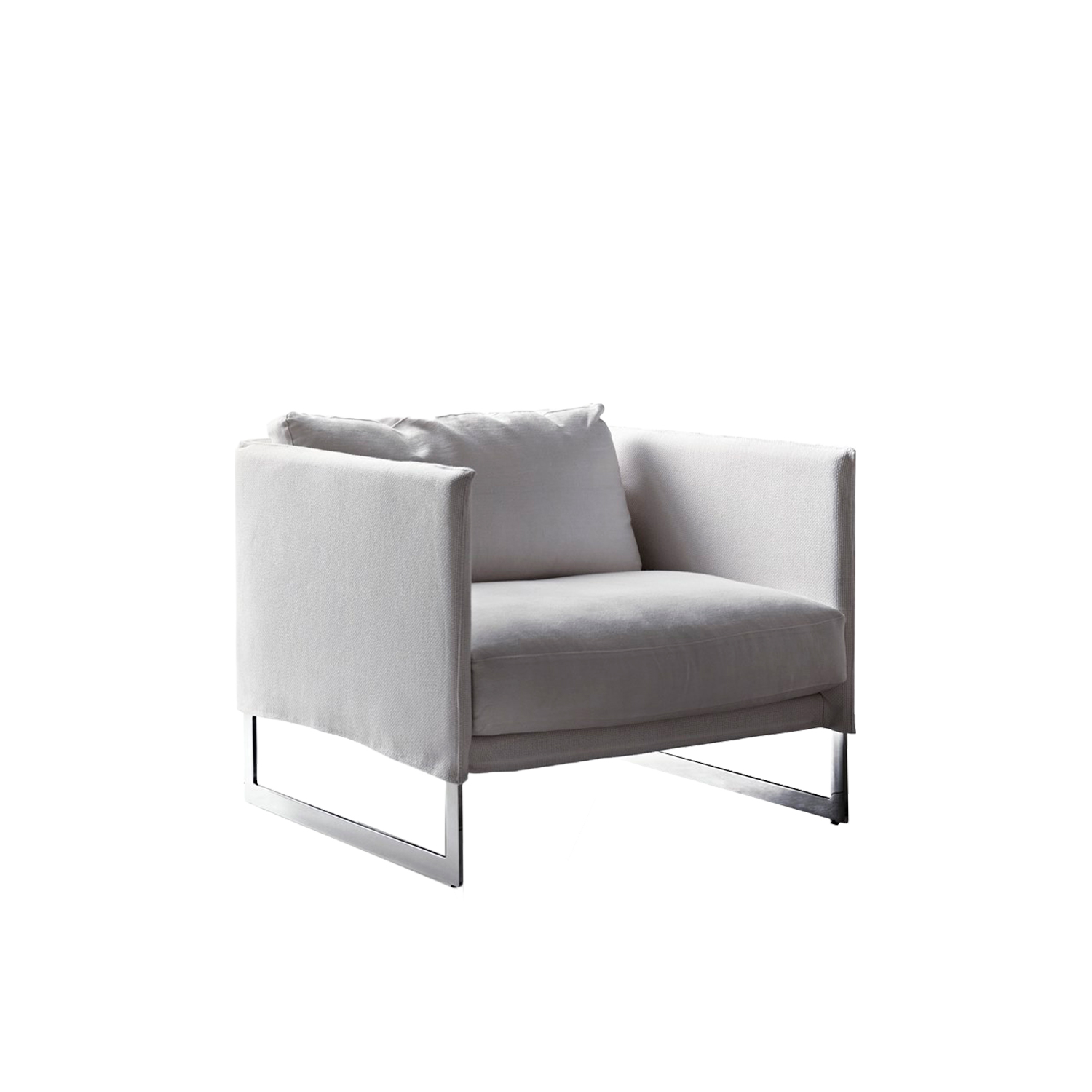 Livingston Lounge Armchair - The Livingston tub chair is the perfect companion to the Livingston sofa. With its balanced proportions, it is one of those objects whose beauty never fades. Its steel frame perfectly matches both leather and fabric upholstery. Fully removable covers.  Additional removable cover is available, please enquire for prices.  Materials Structure in black painted metal; the seat is sprung with elastic straps reinforced with polypropylene; the metal armrests are padded with polyurethane foam (75IP and 30P) and covered in white velveteen backed with polyurethane foam; the black is in multi-layered wood, covered in velfodera backed with polyester 300gr/sqm. Feet in shaped metal, glossy chrome or black nickel finish. The backrest and armrest cushions are padded with washed and sterilized goose down, divided into sections mixed with polyester fiber, everything is covered in white 100% cotton fabric. Seat cushion is made with polyurethane foam core 40IM and memory foam, covered with velfodera on a polyester fiber 280 gr/sqm. | Matter of Stuff