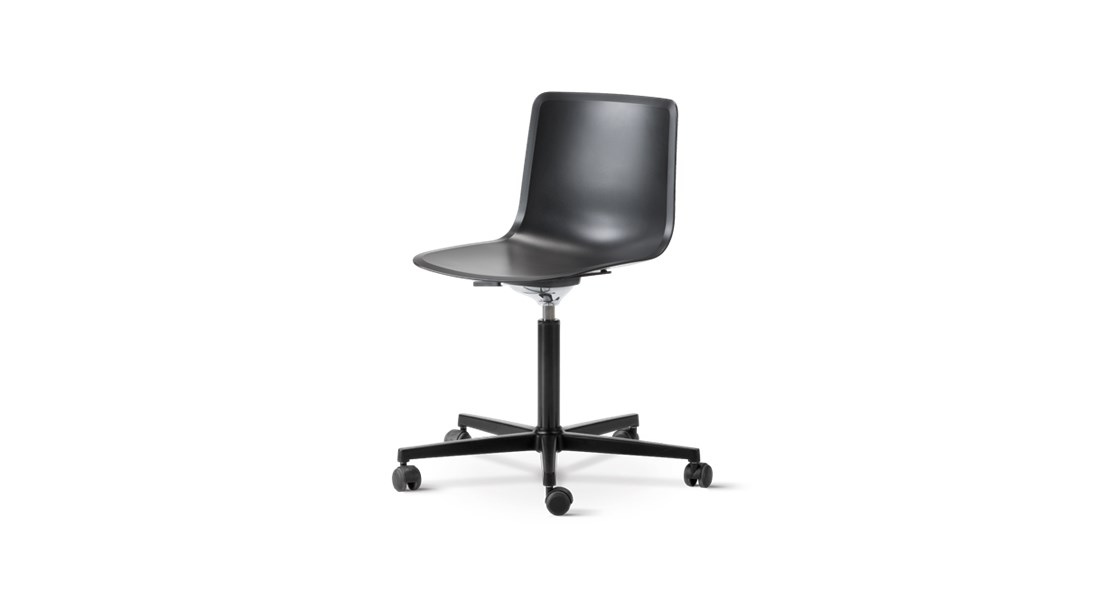 Pato Office 5 Point Swivel Base Chair - Pato Office Chair is fitted with a 5-point star swivel base on casters. The frame has a swivel feature with height adjustable gaslift and a tilt function for comfortable task seating. The chair can be tuned from basic to exclusive with optional upholstery. Pato is a prime example of our focus on sustainability and protecting the environment, reflected in a chair that's 100% renewable and recyclable. All components can be incorporated into future furniture production, thus contributing to a circular economy by minimising the use of materials, resources, waste and pollution.   Merging traditional production methods with cutting-edge technology, Pato is a human-centric, highly versatile series of multi-purpose functional furniture that draws on our in-depth experience with materials, immaculate detailing and heritage of fine craftsmanship. Allowing us to apply our high standards of texture, finish and carpentry techniques to an array of materials in addition to wood for products aimed at a mass market.   With its clean lines and curves, Pato echoes the ethos of Danish-Icelandic design duo Welling/Ludvik. Demonstrating their belief that good design has the ability to be interesting, even when reduced to its most simple form. Where anything extraneous is eliminated and every detail has a purpose.   Together we spent nearly three years developing the shell structure to have a soft surface that's also wear and tear resistant. Enhancing the chair's ability to optimally conform to the user's body is a subtle beveled edge. A technique from classic cabinetmaking, which gives the chair a sense of handcrafted finesse. Each Pato is detailed and finished by hand by our highly skilled crafts people, who refine the beveled edge and the silky, resilient surface. Setting a new standard for the execution and finish of polypropylene.   Since the success of its initial launch, we've expanded Pato into an extensive collection of variants, featuring 
