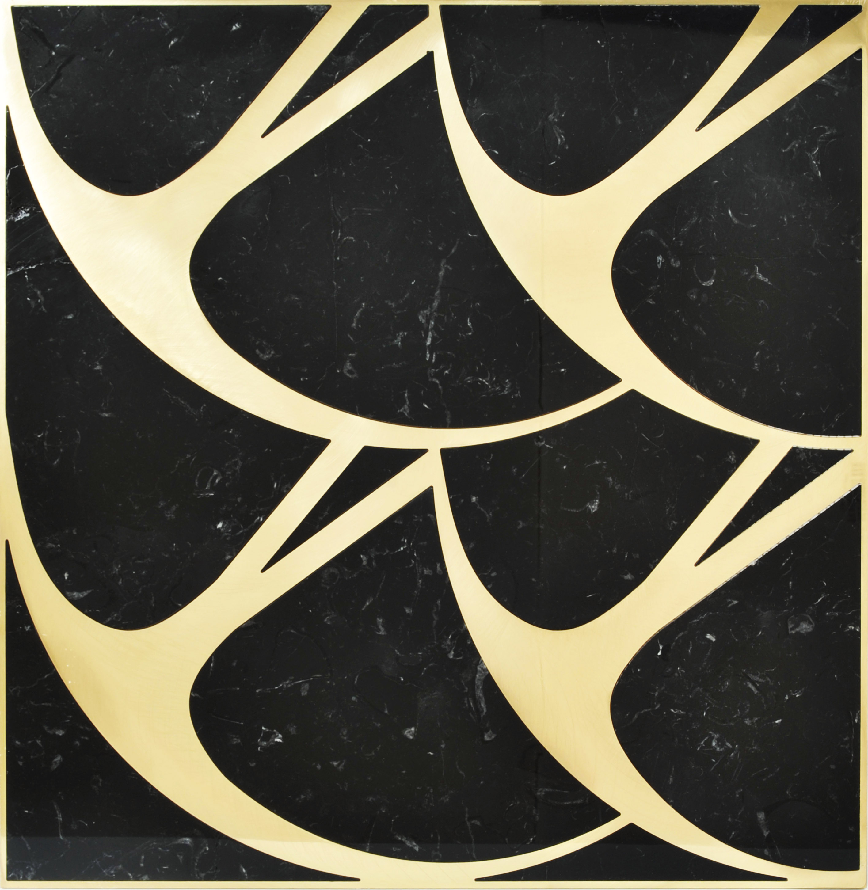 Pattern Black & Gold - Ma.C.S. combines artisan crafted production with industrial processing powered by numerical control machines. This is demonstrated by the new marble inlay covering collection. The research aims to integrate the classical idea of marble inlay (combined in some cases with other materials such as wood and metal), with shapes, compositions and innovative, charming designs. All of that is rigorously made in Italy.  The 2016 collection is characterized by geometrical serial successions, similar to nature inspired paintings. Delicate strokes of color, a careful choice of materials and cleverly designed decorations create a striking spatiality, blurring the line between the two-dimensional and the three-dimensional sphere.  The proposed coverings, both horizontal and vertical ones, are fully customizable in size and colors, according to client needs. | Matter of Stuff