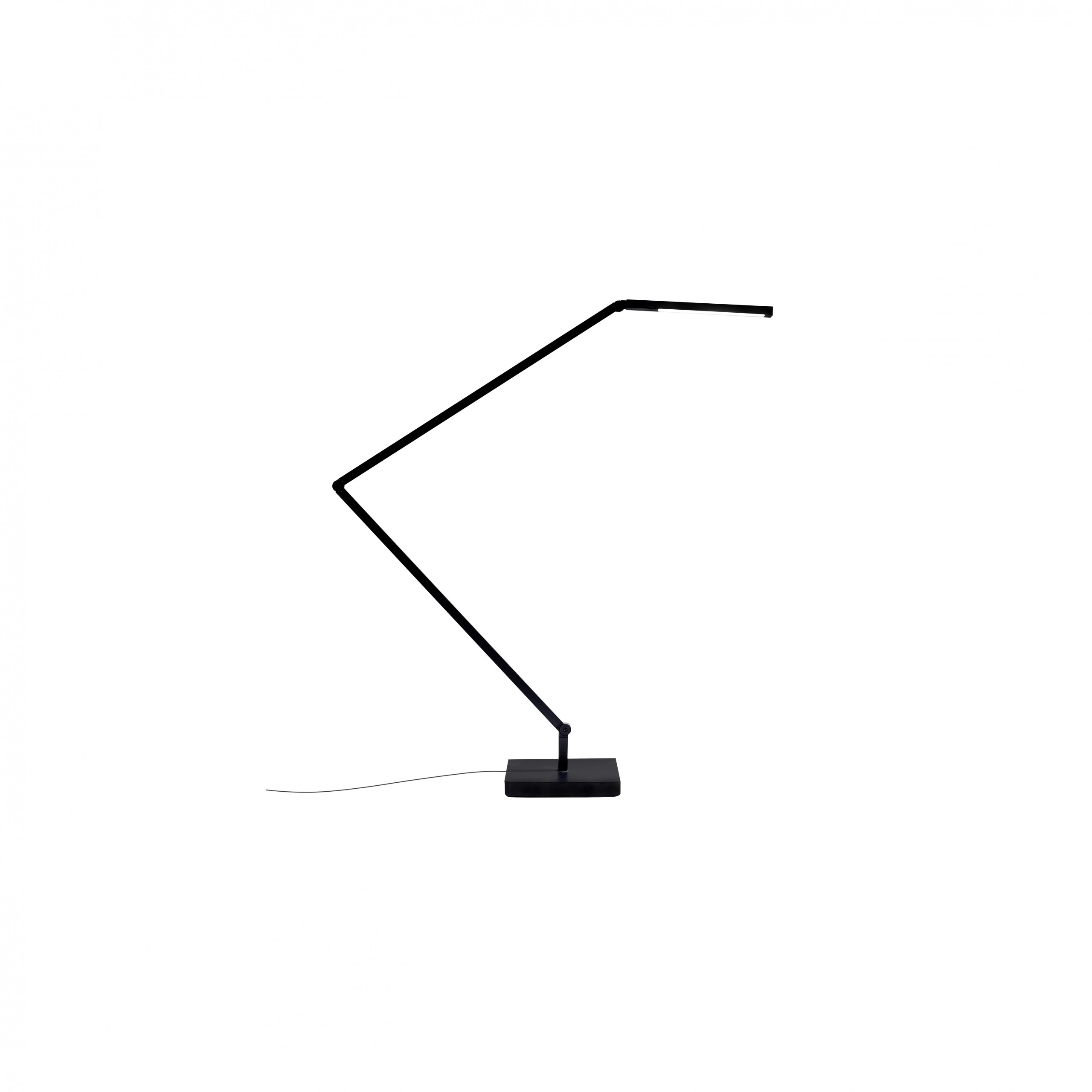 Untitled Table/Wall Linear Lamp - Family of table, floor and wall LED lamps in extruded matt black painted aluminium with joints for flexible and dynamic positioning of the light. Available in the version with the linear lighting unit in polymer filled with glass fibres that rotate on itself and in the version with a cylindrical spotlight in aluminium. Dimmer on board located on the lamp stem.  | Matter of Stuff