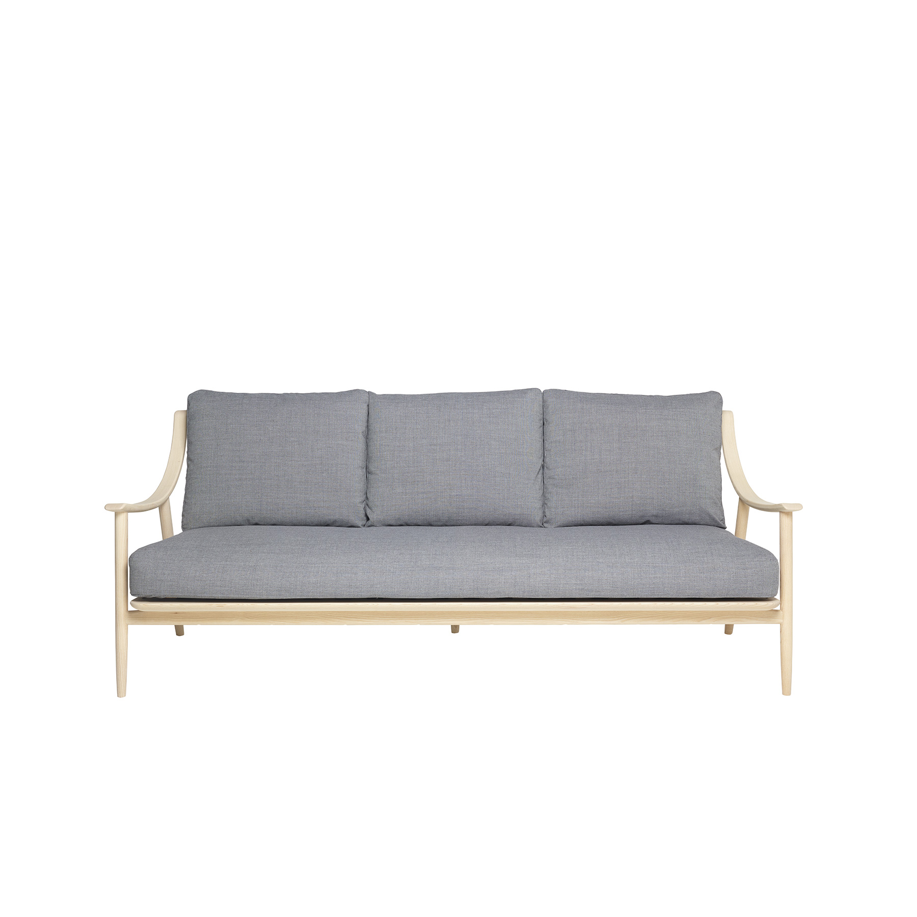 Marino Large Sofa - The Marino chair created in solid ash timber references the qualities and features of Ercol design classics through considered design aesthetic. Its elegance and flowing lines, featuring turned elements, combined with exceptional craftsmanship create a striking, contemporary armchair. The Marino collection is inspired by the Ercol design classics, its smooth flowing elegant lines are created by steam bending the solid ash arms, using traditional craftsmanship and modern furniture making techniques, to create a strikingly contemporary and comfortable range. The Marino sofa created in solid ash references the qualities and features of ercol design classics. The smooth elegant and flowing lines are created through traditional craft, including steam bending solid timber and modern furniture making skill and techniques. The feature turned spindles, and deep cushioning combine to create a striking and contemporary sofa that is comfortable, seating two with ease. The Marino collection is finished in your choice of wood finish that protects the timber whilst enabling you to choose the look to match your style and décor.   | Matter of Stuff