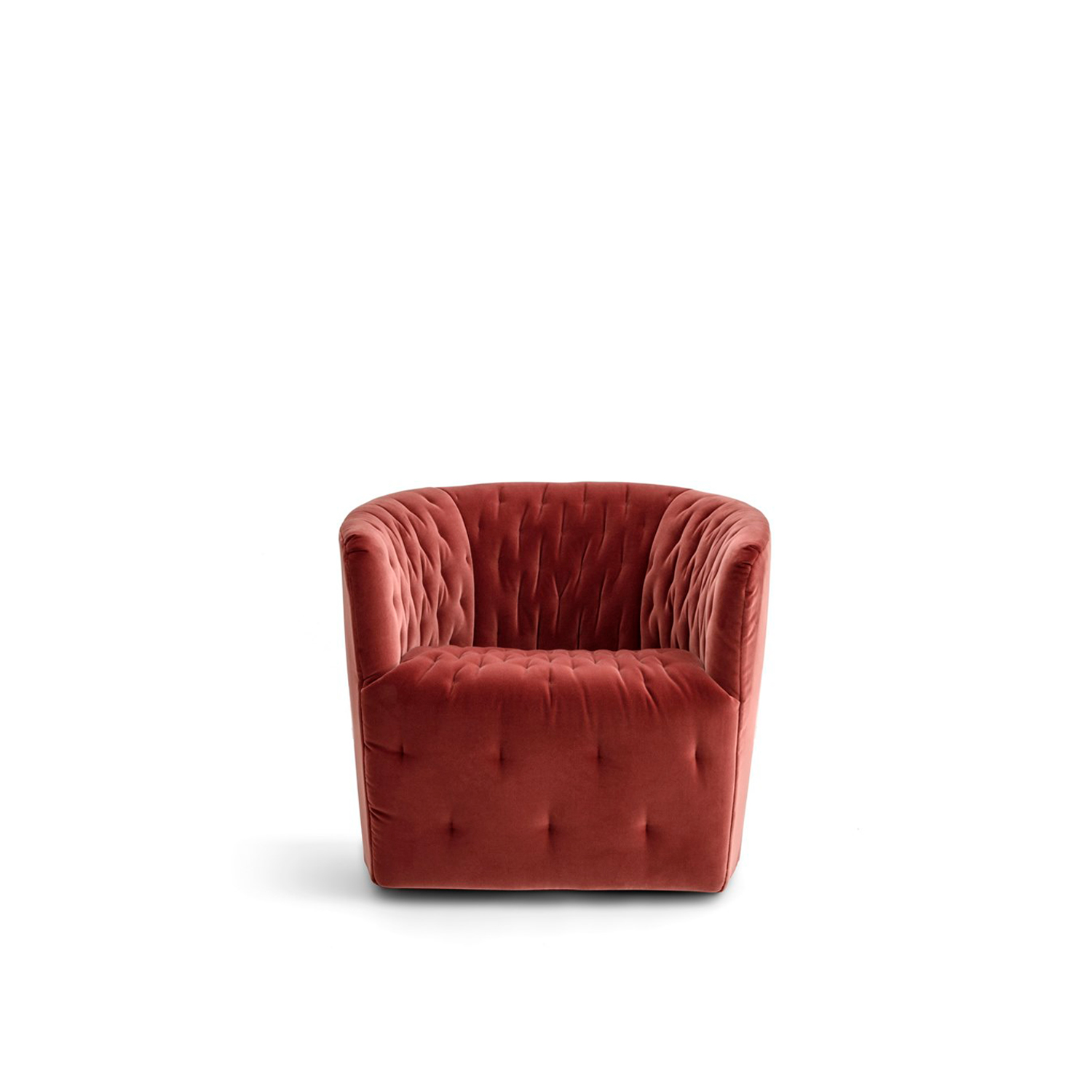Amélie Lounge Armchair - Delightfully pretty, the Amélie tub chair conjures up visions of French haute couture. The inner curves have been deliberately emphasised by a clever hand-quilted patterning effect. Compact yet with a strong appeal, Amélie would be an attractive addition to any space where seating is required. Customers can choose to order the quilted stitching in a contrasting colour, offering endless possibilities to suit personal choice. Tone-on-tone for Amélie: the latest hues give prominence to its graceful lines. Also available with a swivel base, fully removable covers.  Additional removable cover is available, please enquire for prices.  Materials Structure in cold-cured polyurethane foam on a metal core, covered with velfodera on a resin-coated backing 100gr/sqm. Seat filling in polyurethane foam, covered with polyurethane-backed velveteen. Feet in black ABS, h 25 mm. The armchair is available with a rotating glossy chrome finish drawn base. | Matter of Stuff