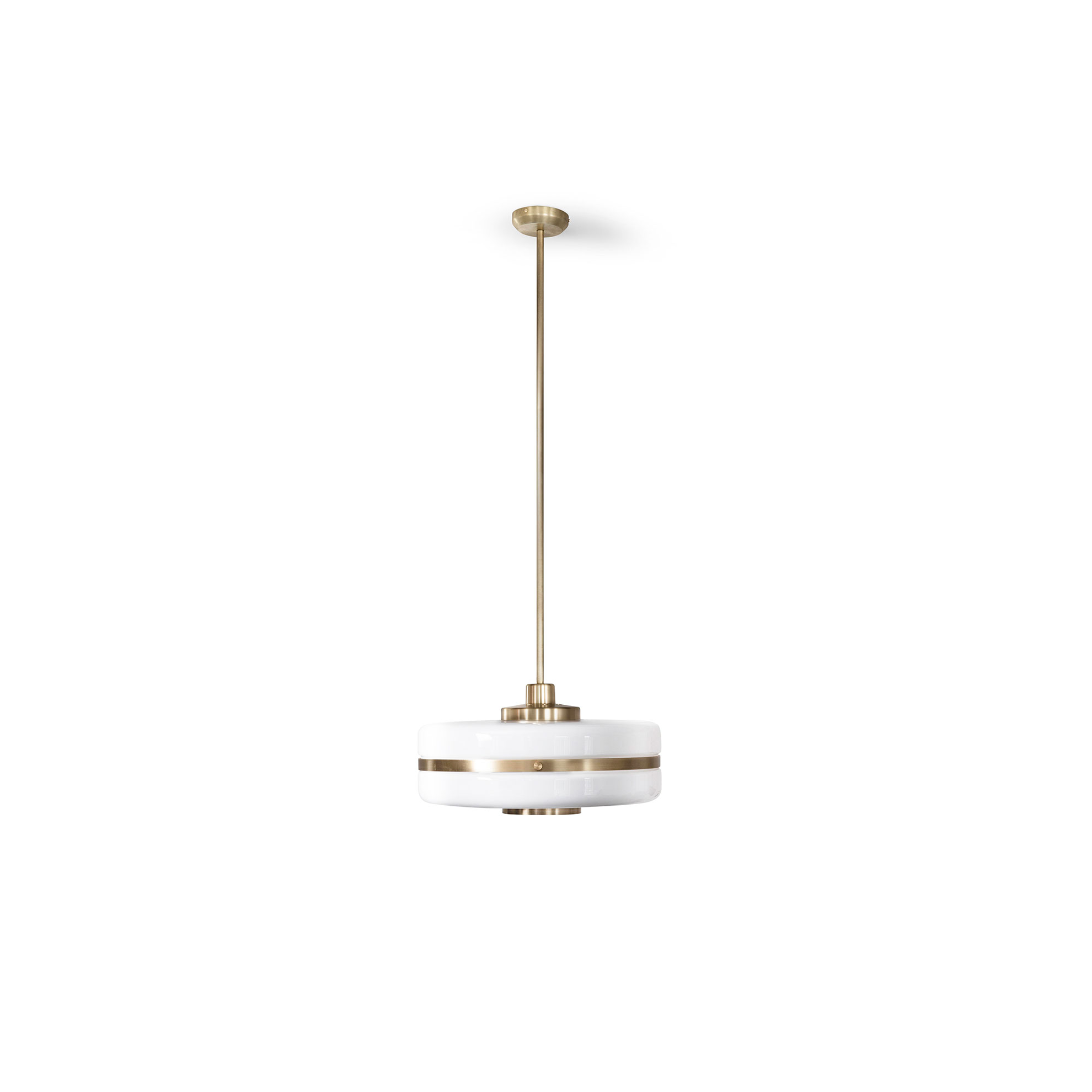 Masina Pendant Lamp - Classically chic, the Masina Pendant Lamp features gleaming machined brass detailing and a large opal glass shade. Perfectly positioned in a central living area or over a bedside table, it will inject a sophisticated feel to any space.    | Matter of Stuff