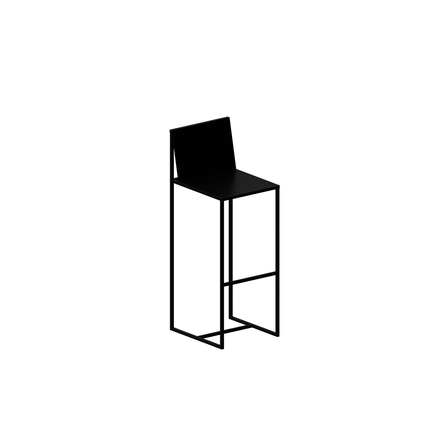 Slim Sissi Barstool - Barstool designed by Maurizio Peregalli and fashioned in Italy. The Slim Sissi Barstool has a linear frame in square Tubular Steel 15x15 mm with a Sheet Steel seat 1 mm thick. Epoxy painted copper black, new version with sand-touch. | Matter of Stuff