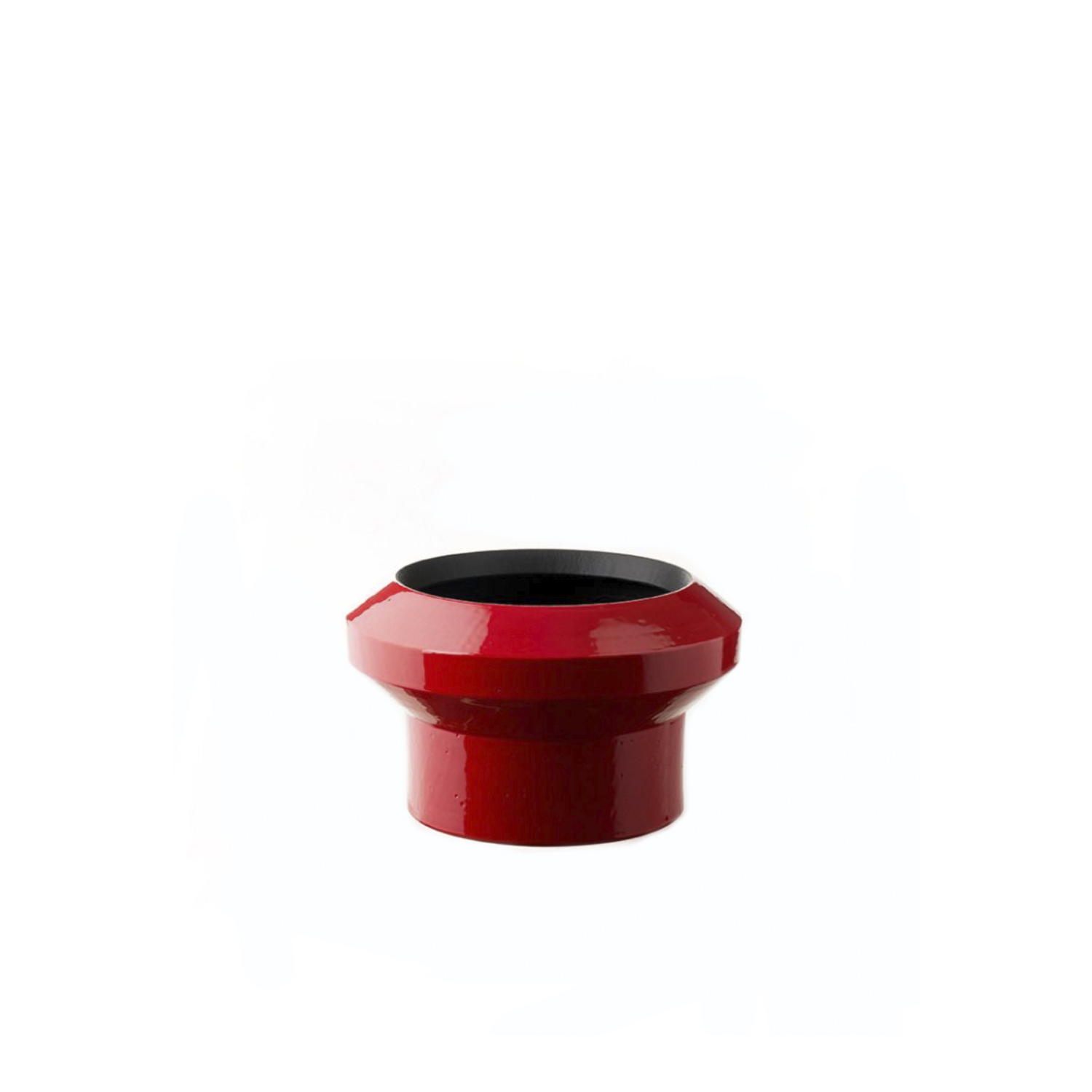 Small Red Centrepiece - Elegant and expressive, this stylized ceramic centerpiece was turned on a lathe of white refractory clay with a cylindrical base supporting a bowl-shaped top. A two-tone finish enriches the piece, with bright glossy red on the outside and matte black inside, visible through the wide top opening, that exudes highly decorative quality and striking allure. Perfect in a modern, monochromatic interior, this limited-series centerpiece from the Tribe Collection is available in a limited series of 99 pieces. | Matter of Stuff