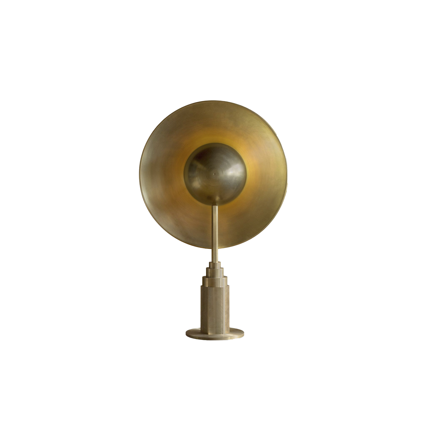 """Metropolis Table Lamp - is a lamp created as a result of my fascination with the possibilities offered by the metallurgy. The lamp exposes what is most beautiful in brass. Here I see the beauty in two different forms. The first are various types of dishes or shields. Their phenomenon is the occurrence of irresolvable forms. The flat sheet is flaccid and prone to deformation. Only after its extrusion and giving its sphericity, it gains its constitutionality. The second form are the heavy machine parts, simple and perfectly matched """"geometries"""". Metropolis is a clash of both of these fascinations. The lamp is made by hand with a full brass, using traditional methods of metalworking, as well as other methods, slowly fading into obscurity. An example of which are the plates executed by metal spinning method.  Subtle differences between products are results of hand crafting.  Thanks to the natural properties of brass, lamp will receive an elegant patina finish. 