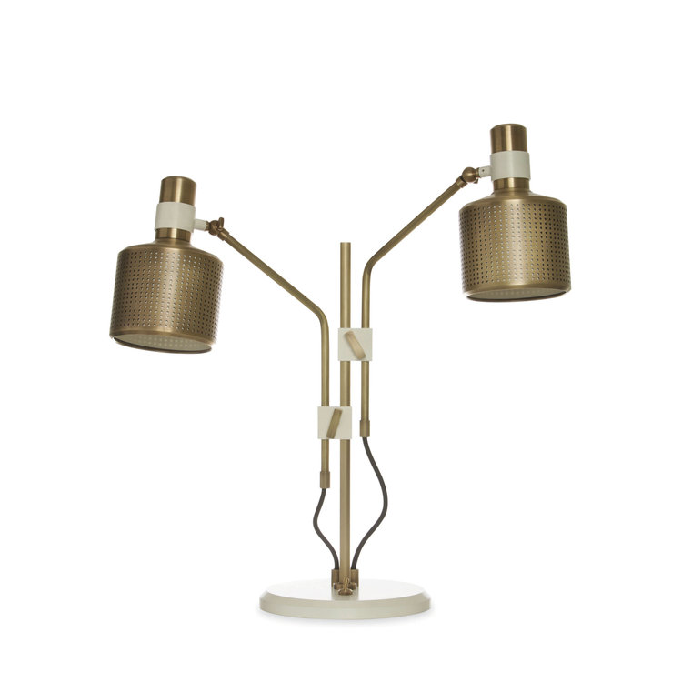 Riddle Table Lamp - Double - Two articulated shades with silk inserts make this the perfect lamp for effective and stylish lighting of any desk or side table. Both arms are able to rotate 270 degrees and be locked into position. A substantial toggle switch in the base solves the issue of reaching behind a table or desk to operate.    | Matter of Stuff
