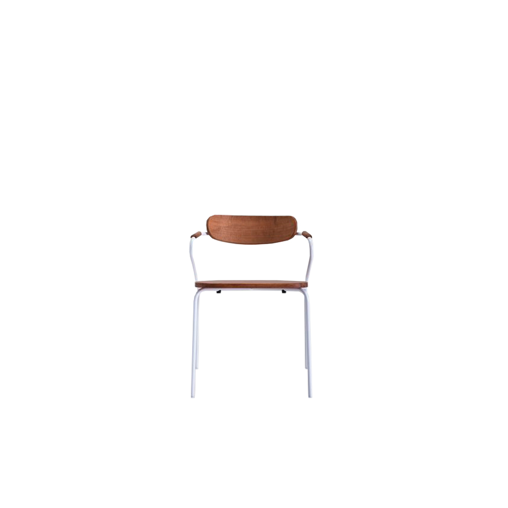 Linea/E Chair - Slim frame stackable armchair entirely made in Iroko wood, a particularly durable wood, resistant to temperature changes and weathering. The metal structure, available in white or other standard finishes, is specially treated to resist exposure to atmospheric agents.   Suitable for decorating numerous outdoor contexts including bars, hotels, restaurants, but also private houses, terraces, gardens etc.  Product can be customized in a range of finishes: RAL/NCS colour lacquering I Aniline RAL/NCS colour I Acrylic finish      Matter of Stuff