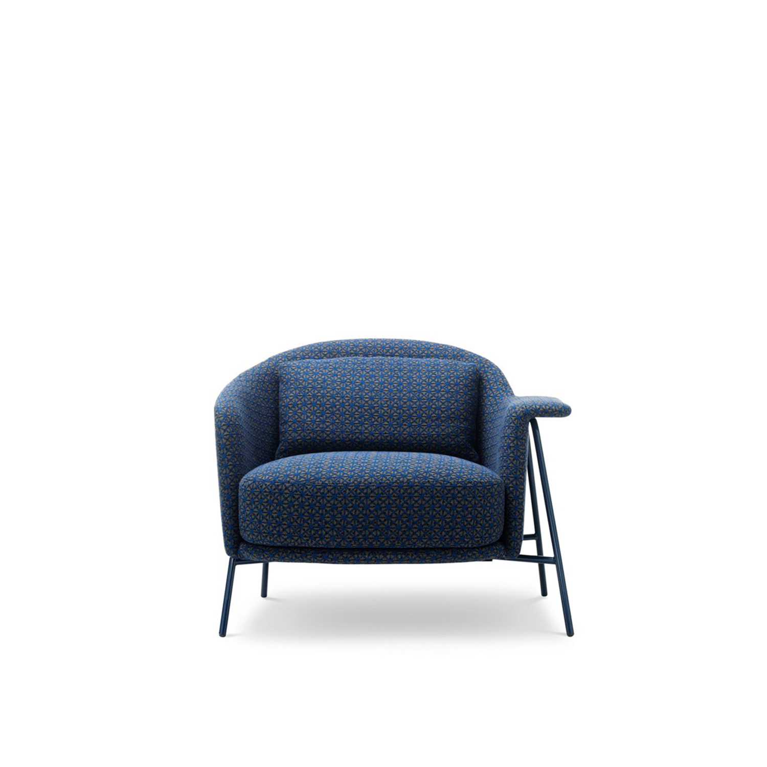 Kepi Lounge Armchair with Metal Feet - The Kepi armchair's sober design and vaguely Nordic look are softened by rounded lines that add character and improve comfort. Its clean design and nonchalant elegance make it perfect for the home and contract environments. The structure in bleached ash wood becomes its characteristic trait. The base is also available in varnished tubular stainless steel. The collection also includes a two-seat sofa and a pouf. Fully removable covers.  Additional removable cover is available, please enquire for prices.  Materials:  Structure in plywood with variable-density polyurethane foam (75IP and 25IM) covered with velfodera coupled with resin 150 gr/sqm. The armchair has got feet in ash or iron painted rod 18 mm. The seat cushion is in variable-density polyurethane foam (40IM and 25IM) covered with fine velvet coupled with dacron 280 gr/sqm. The lumber cushion is mae in 100% cotton fabric and padded with washed and sterilized goose down. | Matter of Stuff