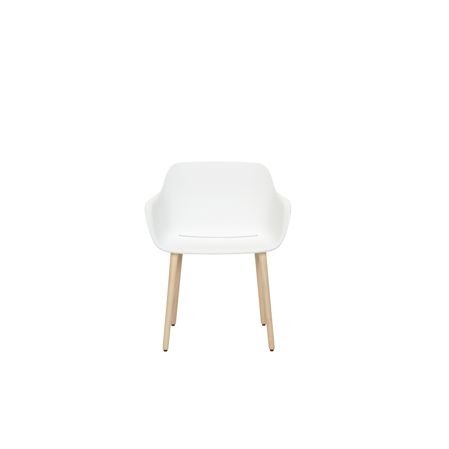 """Babila XL Armchair - Babila XL fits harmoniously within a collection poised between tradition and innovation. An armchair with a polypropylene shell stands out for the large dimension of its seat and armrests. Solid ash wood legs. Babila XL also comes in a version made entirely from recycled material: 50% from plastic material post-consumer waste and 50% from plastic material industrial waste. Babila XL """"recycled grey"""" is one of the first Pedrali products made from recycled polypropylene. 
