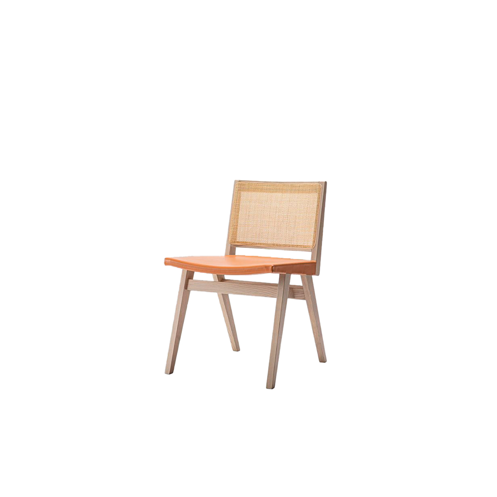 Dorothea Chair - The new Dorothea chair combines a design with an essential character with the iconic rattan weaving of the backrest. The whole family is made up of a chair, armchair and stool made of ash wood with a straw-covered back inside a wooden frame and a seat covered with a double layer of leather.  The thickness of the leather, coming from the best Tuscan tanneries, is coupled to the canvas underneath to guarantee an excellent holding to the seat. Perfect for both domestic and contract use.  Frame can be customized in a range of finishes:                               RAL/NCS colour lacquering I Aniline RAL/NCS colour I Acrylic finish | Matter of Stuff