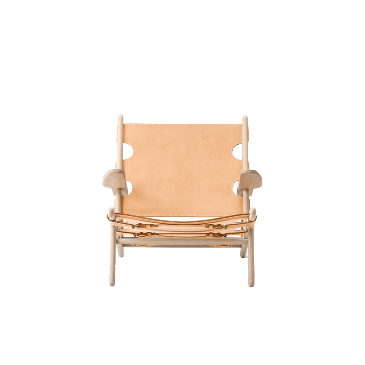 The Hunting Lounge Chair - Designed in 1950, The Hunting Chair was Mogensen's first work with exposed wooden framing and saddle leather. The seat is adjustable with solid brass buckles, and the chair is easy to move around to different locations in the home. | Matter of Stuff