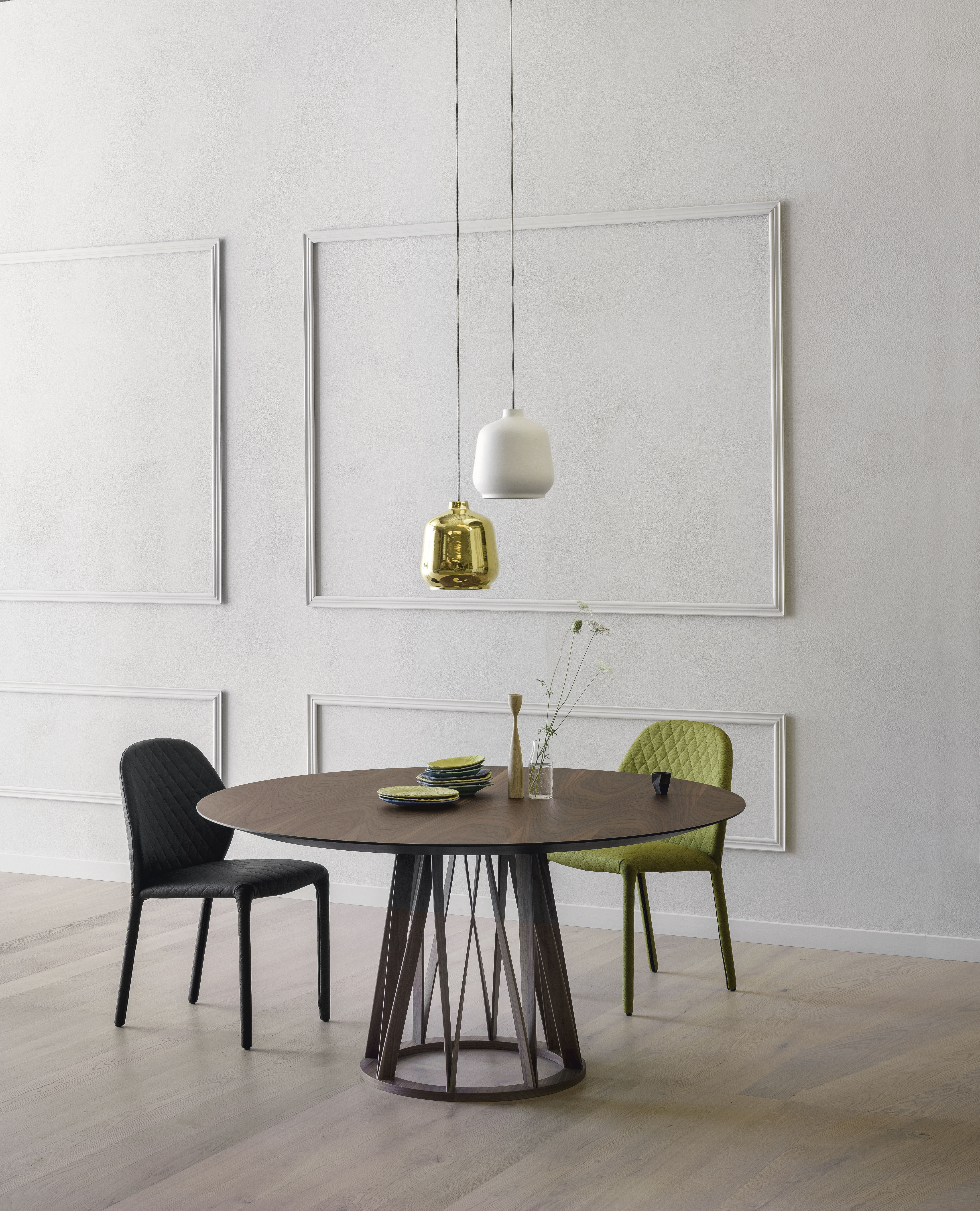 Acco Dining Table - Acco is an elegant dining table with a strong character that resists labelling. It displays a mature, sophisticated language, which is developed through the design of the base frame with its distinct regular pattern of wooden lines.  Ps. Only Ø dimensions are possible with a glass top  | Matter of Stuff