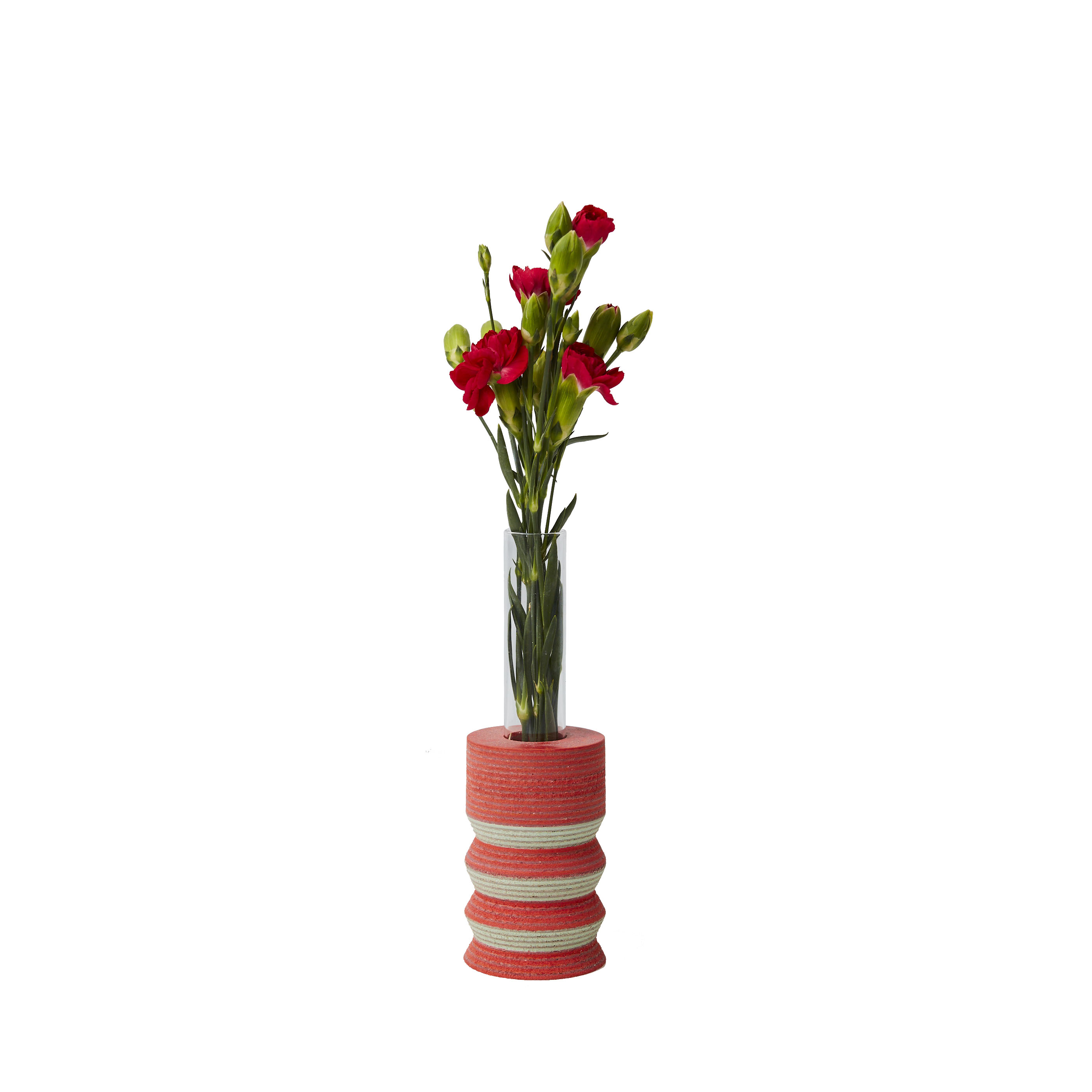 Lio Single Stem Vase 15 - <p>The LIO single stem vases have been turned by hand on a lathe from blocks of laminated Linoleum flooring. These lively yet muted vases are inset with glass tubes to hold single stems that elongate the playful forms. Particularly dynamic in small collections to energise and animate interiors. </p>  | Matter of Stuff
