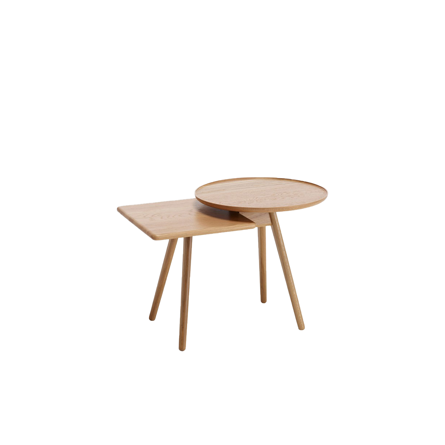 Mopsy Small Table - Mopsy (2016) is a sofa table with round and square-shaped tops at different heights in an overlapped combination on the same leg frame. A number of Mopsy tables can be grouped together in the same type of wood or colour, or in a combination of different types of wood and colours. The tabletops and leg frames are made from solid wood. Choose from oak, birch, ash, standard stains on ash, white glazed oak or ash and standard colors.  For standard colors the tabletop is made in MDF. Use Mopsy to furnish lobbies, all kinds of meeting places or next to your sofa at home.  Different top and leg finishes are available at an extra cost. Please enquire for more details. | Matter of Stuff