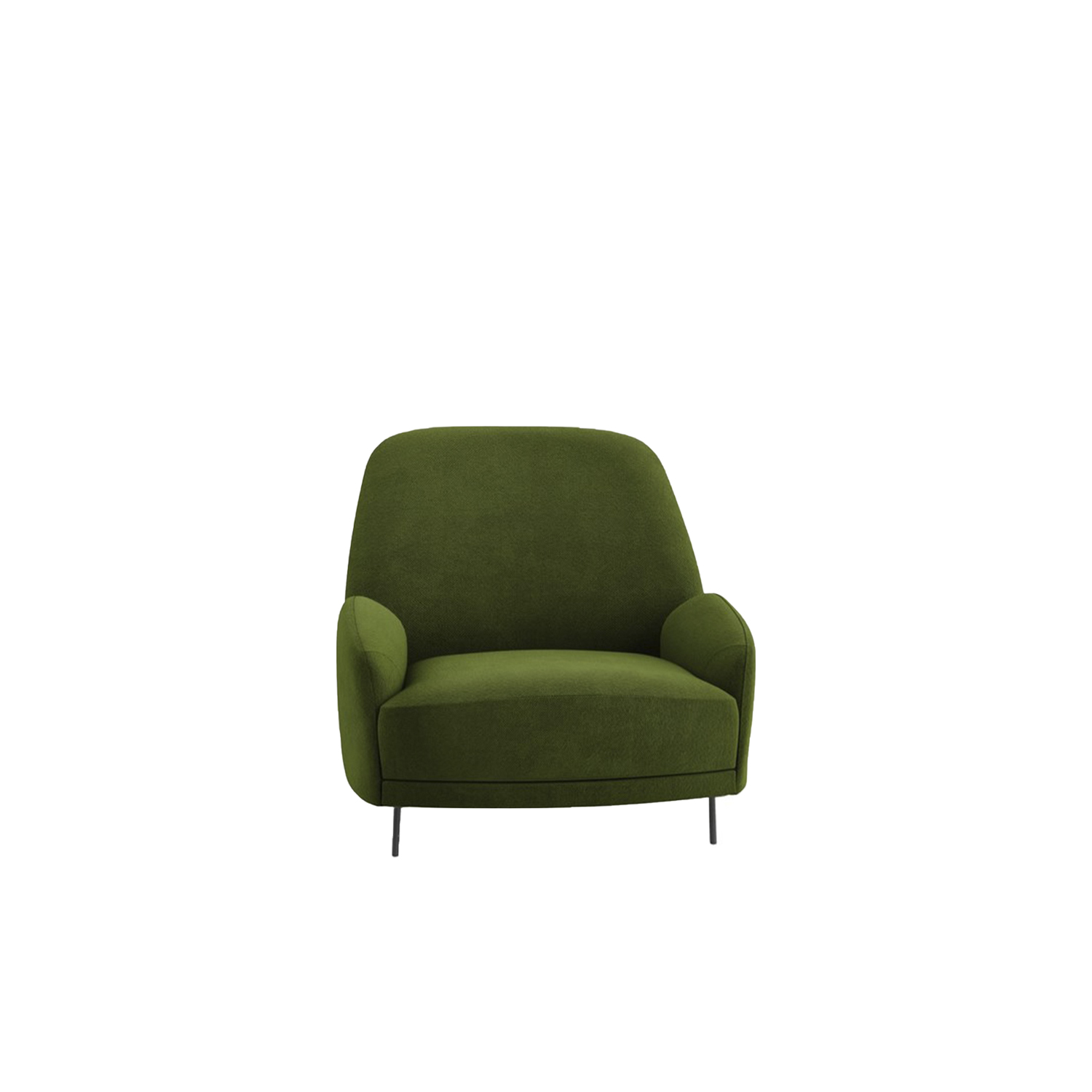 Santiago Lounge Armchair - Soft and comfortable with a contemporary cut, Santiago armchairs and sofas play with unusual proportions to create a unique visual presence that changes depending on the point you watch them from.‎ From the side, the armrest appears small and irregular, while, as contrast, the backrest is high and triangular.‎ From the front side, both sofa and armchair have a pleasant rounded shape, which seems to float suspended on a thin structure of a painted tubular, or on ash wood feet dyed light walnut.‎ There is also a sofa available.  | Matter of Stuff
