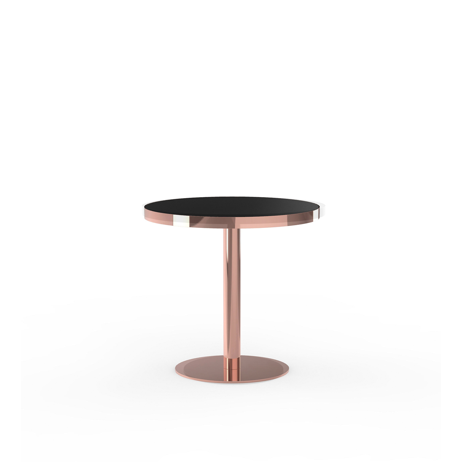 Brandy Bar Table - Bar table available in two heights with metal round base and post, in polished copper or polished brass finishes.. Round top in marble, laminate or natural/stained oak veneer, also available with edge ring in a finish to match the base. | Matter of Stuff