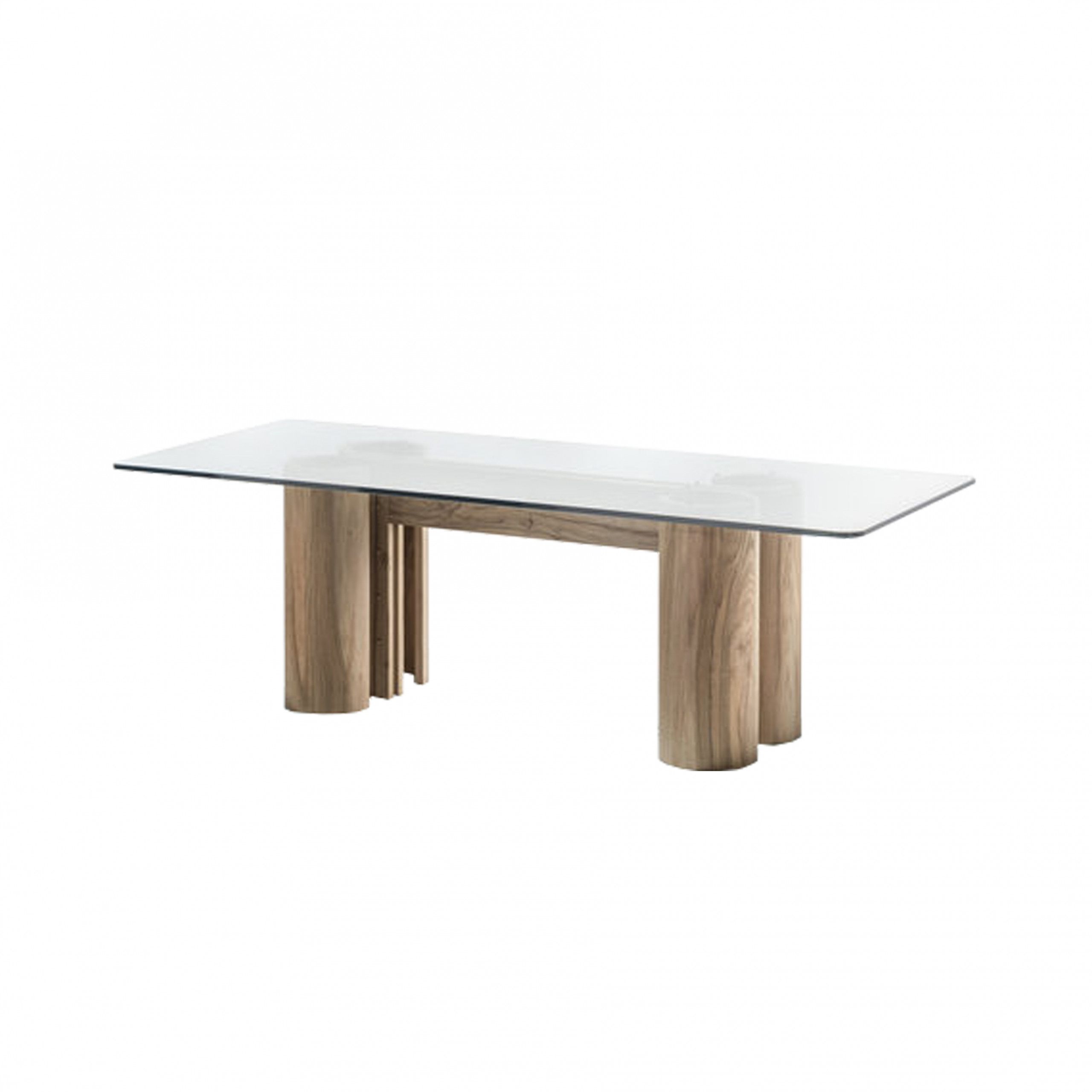 Ionico Dining Table - This modern table has a rectangular silhouette distinguished for its distinct architectural flair. The understated base is made of walnut and comprises four-column legs with a polished finish connected at the centre by a double, U-shaped element. Offering a visually striking touch, the extra-clear crystal tabletop (19 mm thickness) seems to float over the wooden base. An elegant choice for any home, this table can effortlessly transition from classic to contemporary interiors, adding modern-rustic allure to any dining room decor.