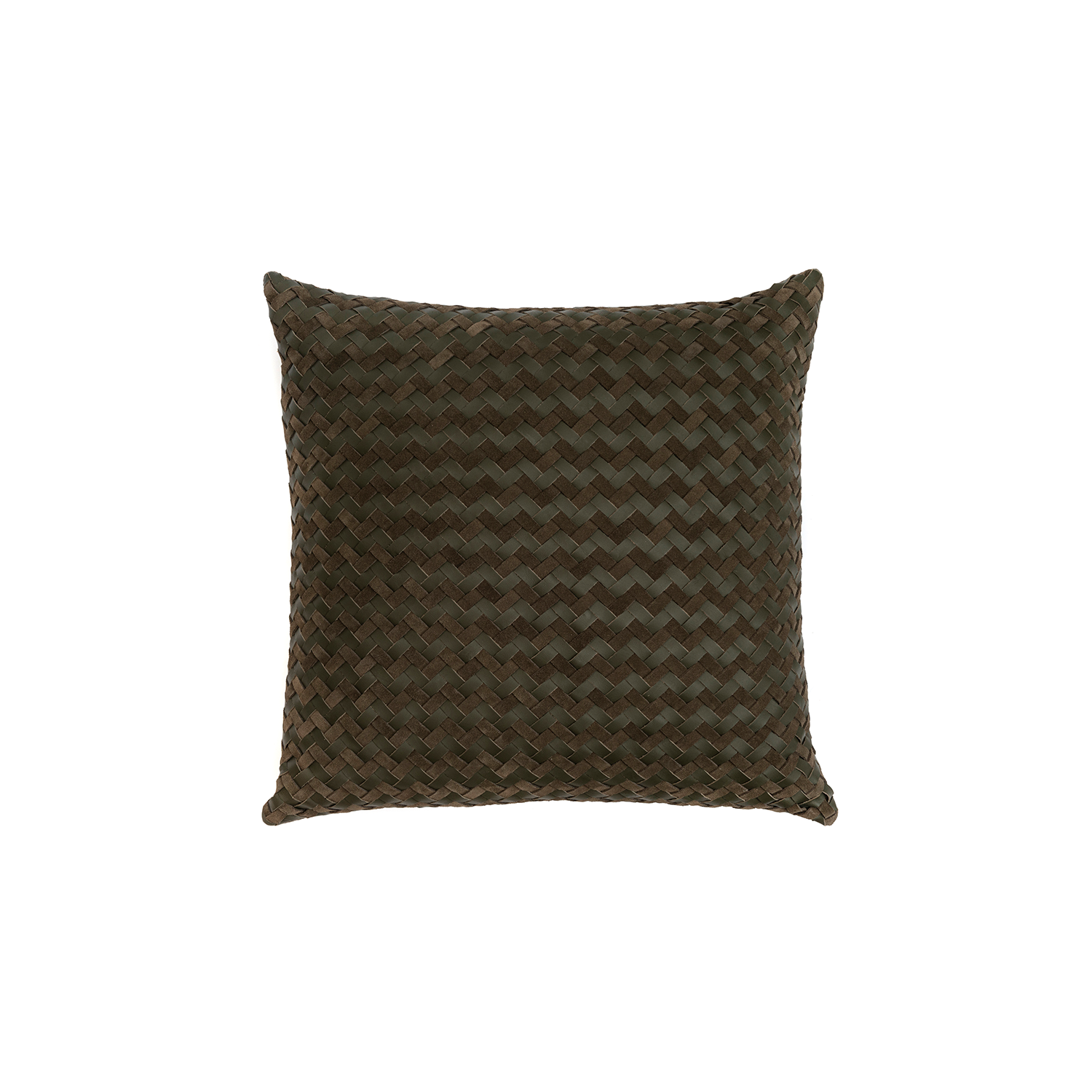 Maxi Aspen Woven Leather Cushion Square - The Maxi Aspen Woven Leather Cushion is designed to complement an ambient with a natural and sophisticated feeling. This cushion style is available in pleated leather or pleated suede leather. Elisa Atheniense woven handmade leather cushions are specially manufactured in Brazil using an exclusive treated leather that brings the soft feel touch to every single piece.   The front panel is handwoven in leather and the back panel is 100% Pes, made in Brazil.  The inner cushion is available in Hollow Fibre and European Duck Feathers, made in the UK.  Please enquire for more information and see colour chart for reference.   | Matter of Stuff