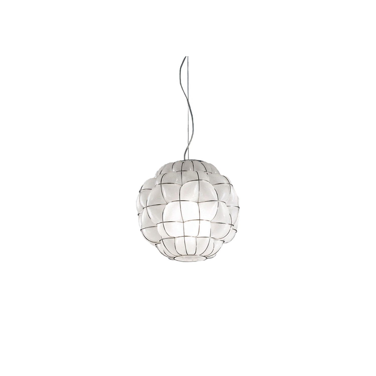 Pouff Pendant Light - The Pouff Pendant Light is hand made with blown glass suspension techniques of the old Murano glass masters. It is a unique and organic shape that brings any room it is put in to life. This light would look good in most spaces however it is the perfect light to chose to hang over a breakfast bar either alone or in a two or three (see picture) 250V Input. 1X E27 max 100W ~ IP20 Bulbs  | Matter of Stuff