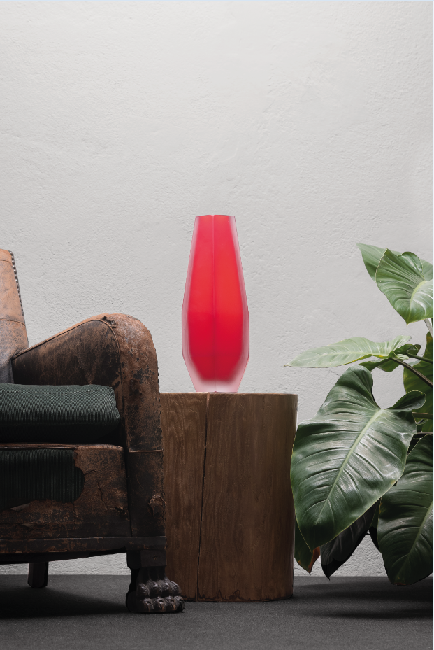 Gemella Vase - Purho continues to search for products with complementary shapes with the pair of Gemello and Gemella vases designed by Alessandro Mendini. Sharing the same design concept, the vases play on contrasting volumes, so that the first appears more slender whilst the second has softer lines, a nod towards the male and female silhouettes. Made of Murano glass, clear or with matt finish, the vases can be customized by choosing among the twenty-one shades of the colour chart.  Please enquire for colour options and customisation. | Matter of Stuff