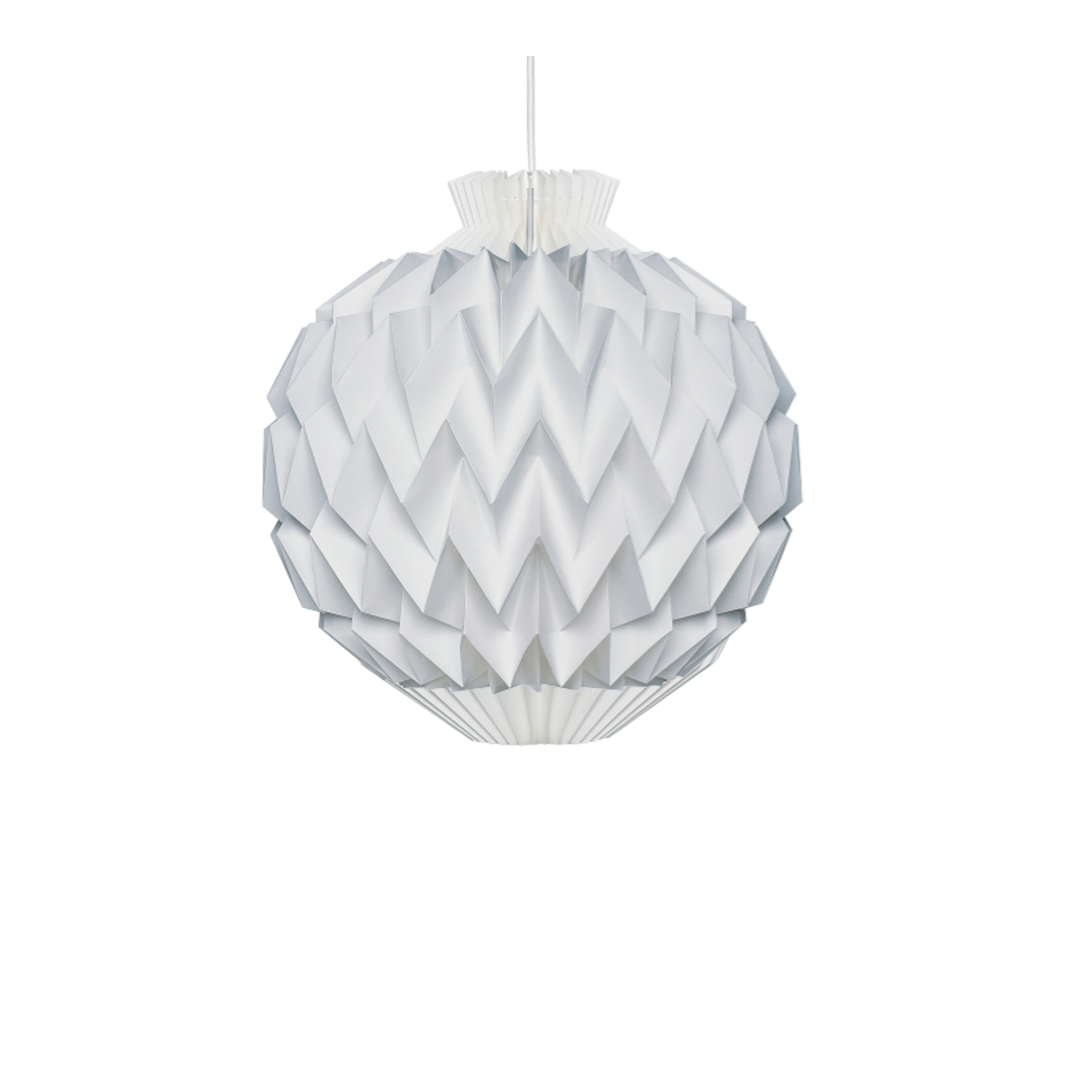 Model 153 Pendant - Andreas Hansen created Model 153 in 1964. This multi-faceted lampshade's resemblance to a natural pine cone is unmistakable.   The lamp's enclosed shape makes it appropriate lighting for hanging at high or low levels. | Matter of Stuff