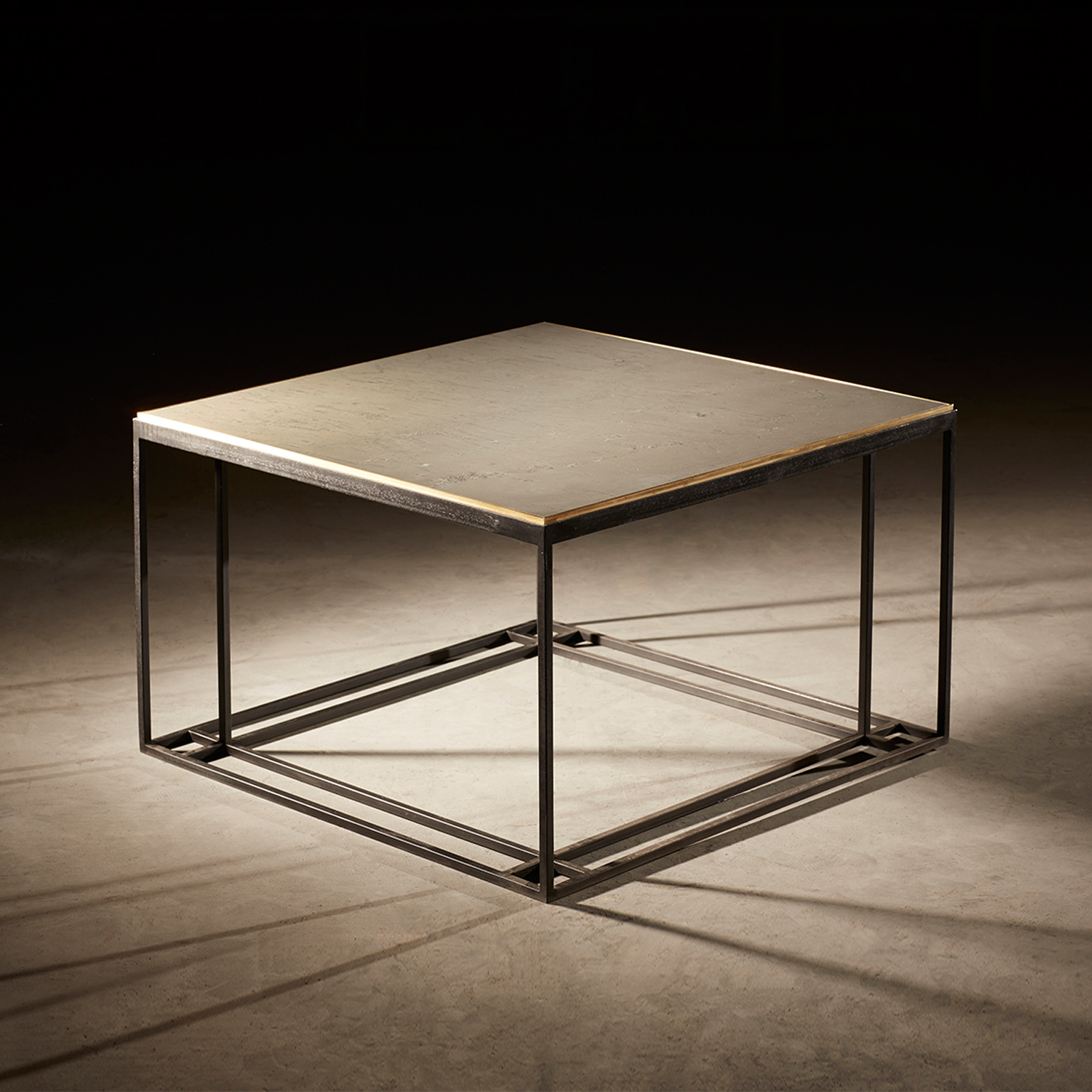 Silver Binate - Coffee Table - A coffee table in blackened steel and honed Cumbrian slate, with a polished brass trim. Hand crafted in the North to order. Custom sizes and finishes are available.  | Matter of Stuff