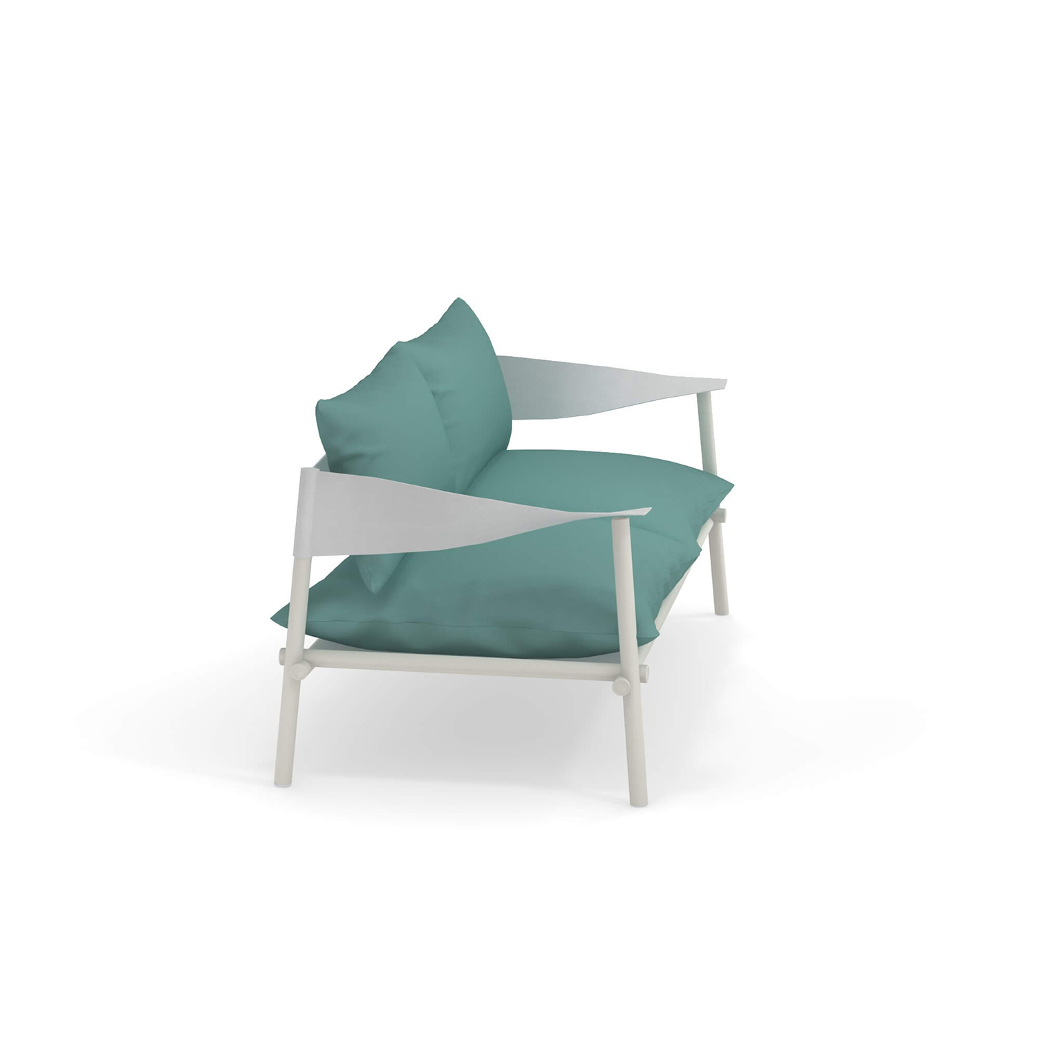 Terramare Two Seater Sofa - <p>Welcoming shapes and wide dimensions characterise the Terramare collection by Studio Chiaramonte-Marin, ideal for cosy and personal settings both indoors and outdoors. A complete range of furniture for both dining and living areas.</p>The frame for this sofa is made from aluminium and the armrests are in eco-leather. Cushions are not included. Please enquire for more information.   | Matter of Stuff