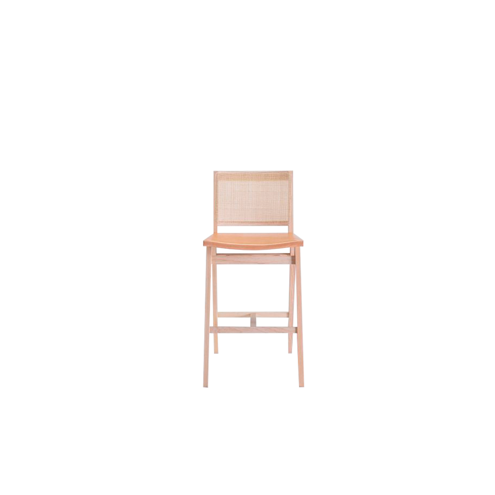 Dorothea Stool - The new Dorothea chair combines a design with an essential character with the iconic rattan weaving of the backrest. The whole family is made up of a chair, armchair and stool made of ash wood with a straw-covered back inside a wooden frame and a seat covered with a double layer of leather.  The thickness of the leather, coming from the best Tuscan tanneries, is coupled to the canvas underneath to guarantee an excellent holding to the seat. Perfect for both domestic and contract use.  Frame can be customized in a range of finishes:                               RAL/NCS colour lacquering I Aniline RAL/NCS colour I Acrylic finish | Matter of Stuff