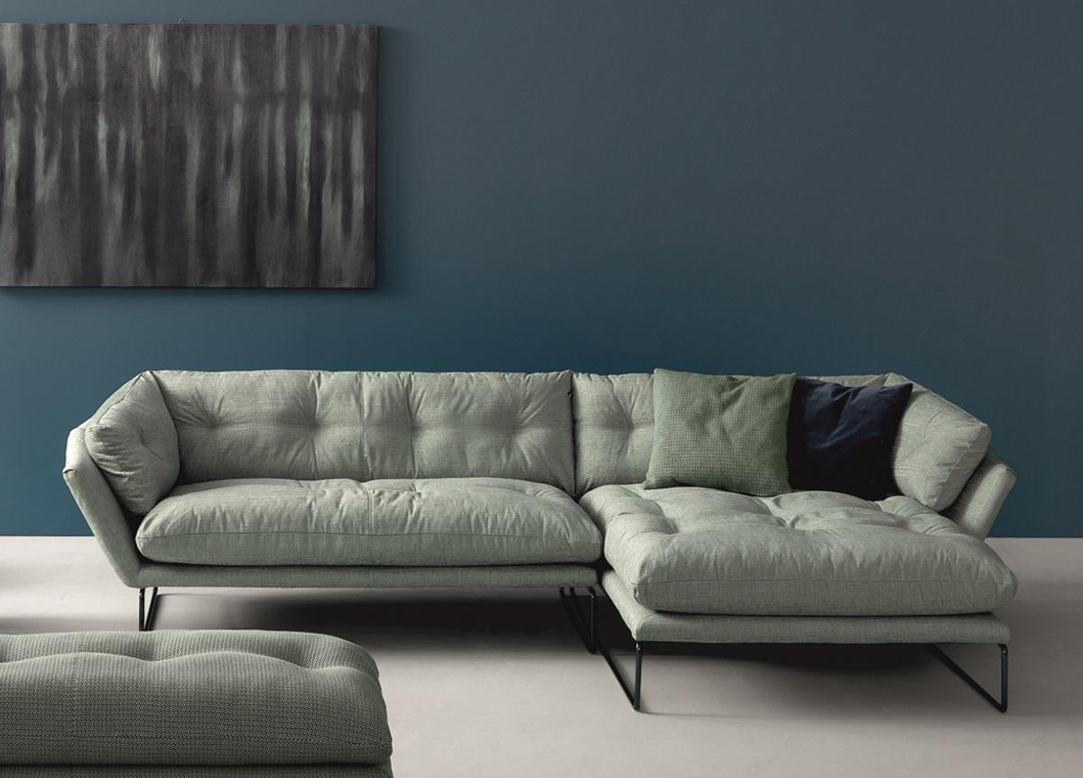 New York Suite Modular Sofa - New York Suite is a Sled base 2 or 3 seater fabric sofa, part of the homonymous collection.  The new designs for the New York collection by Sergio Bicego still hold on to its core meaning made up of a contemporary soul and timeless spirit. New York Suite returns to the svelte silhouette featured in the entire range with extremely comfortable-looking large cushions with tailored finishes. The quilting of the cushions hints at a retro elegance and gives in to nostalgia in order to map out the design of the future. At the same time the metropolitan allure is heightened by the hexagonal shape of the frame which rests on slim feet in steel rod with possible personalisation, with black chrome, gloss chrome or white coated finish. New York suite is soft and welcoming also in the smaller versions such as the maxi lounge chair and the 155 cm sofa which seats two people comfortably and is particularly interesting for contract projects. A sofa which is not afraid of mixing up aesthetic genres, with a domestic elegance and an idea of the present as a fluid area between past and future.  This item is available in various sizes and combinations. Please enquire for more information and prices.  Materials: Structure in honeycomb-panelled solid wood padded with variable-density polyurethane foam and covered with velfodera on a resin-coated backing. The seat is sprung with elastic straps reinforced with polypropylene. Feet in 16 mm wire drawn with following finishes: black nickel, polished chrome or white painted. The back cushions are padded with polyester fiber. The seat cushions are in polyester fiber padded with variable-density polyurethane foam, covered in white 100% cotton fabric. The padding is quilted with a special technique that allows for easy cover removal. | Matter of Stuff