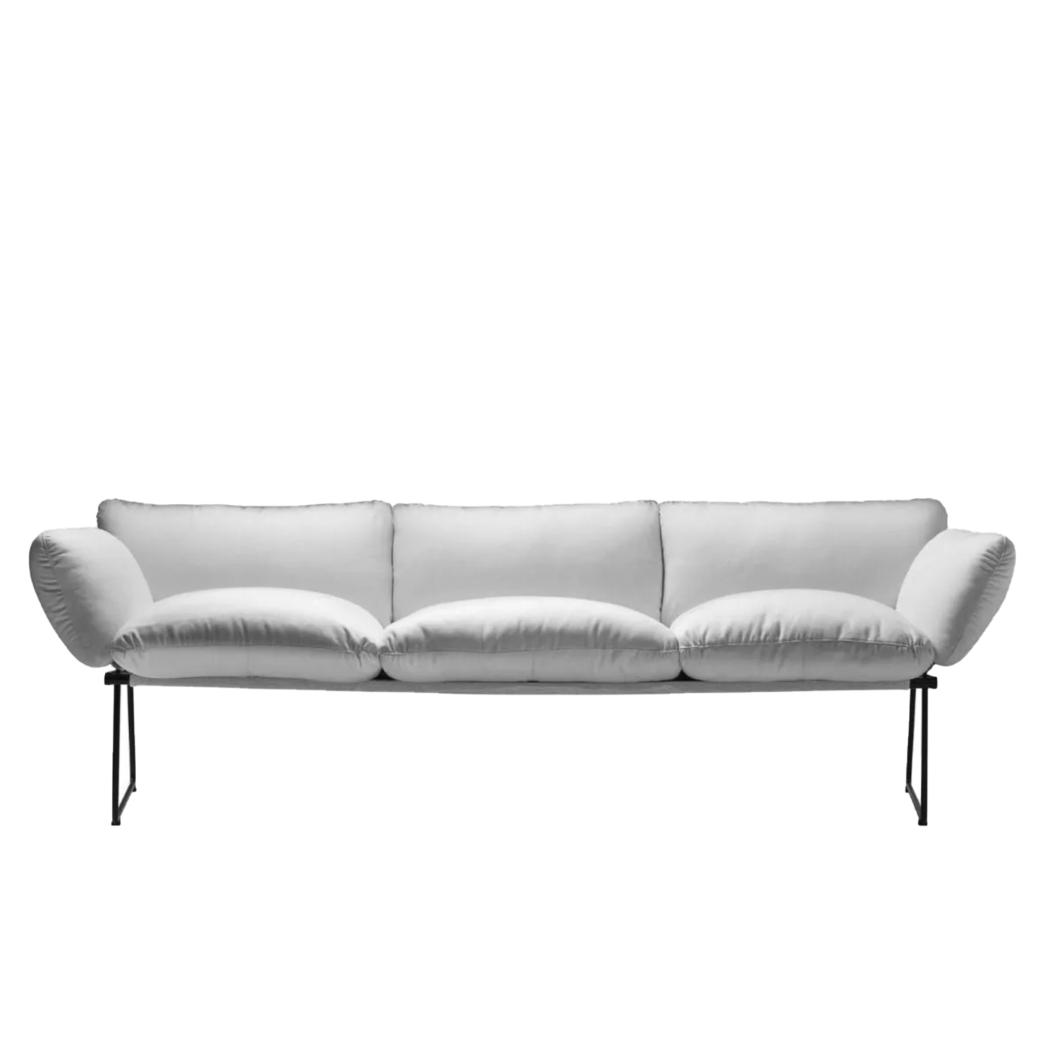 Elisa Three Seater Sofa - Synthesis of lightness and comfort, with a minimal and elegant design. From a project designed by Enzo Mari for Driade, Elisa is a collection of sofas and armchairs with a thin structure, in contrast with the soft volume of the cushions. Extremely comfortable thanks to the large and generous shapes of the polyurethane foam cushions, the Elisa sofa and armchair are characterized by the essential design of the base, a slender steel structure with sled supports that makes the whole elegant and light. Beautiful furnishing accessories which, thanks to the simplicity of their line, are refined and sophisticated. The sofa is proposed in the two dimensional variant with two and three seats and with covering to choose from in a wide range of colors. Available in indoor and outdoor versions.