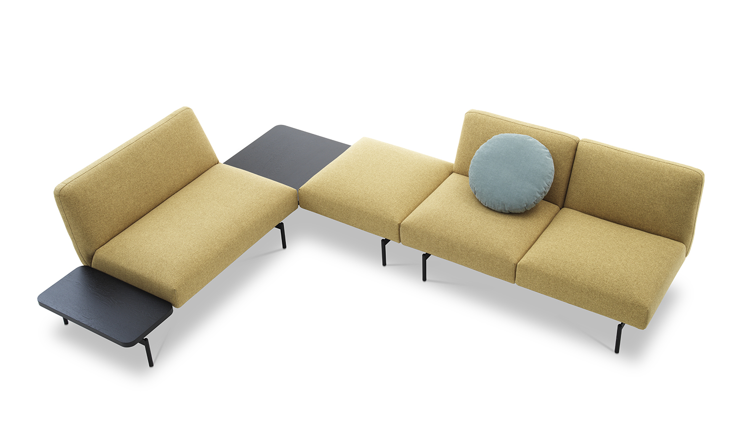Rendez-Vous Modular Sofa - Rendez-vous is the new seating system envisaged not only for the home environment but also for public spaces. The aim of the project is to allow upmost flexibility in configurations with very few elements. The foundation is a metallic black painted structure on which various elements are fixed and can be moved according to the user's preference. The result allows for seated encounters with aesthetic pleasure. Curved angles contrast with pure lines creating interiors with a strong personality. The design of the side tables, in two measurements and finishes, underlines the functional needs in places of encounters. The upholstery textile range includes the durable materials specified for use in commercial applications.  This item is available in various sizes and combinations. Please enquire for more information and prices.  Materials Structure in plywood padded with polyurethane foam per seating and for backrest. All elements are covered with velfodera coupled with polyester fiber 280gr/sqm. The shelves are in plywood with oak veneer natural or painted matte black. Basament in black painted metal and feel in black or black nickel finish. | Matter of Stuff