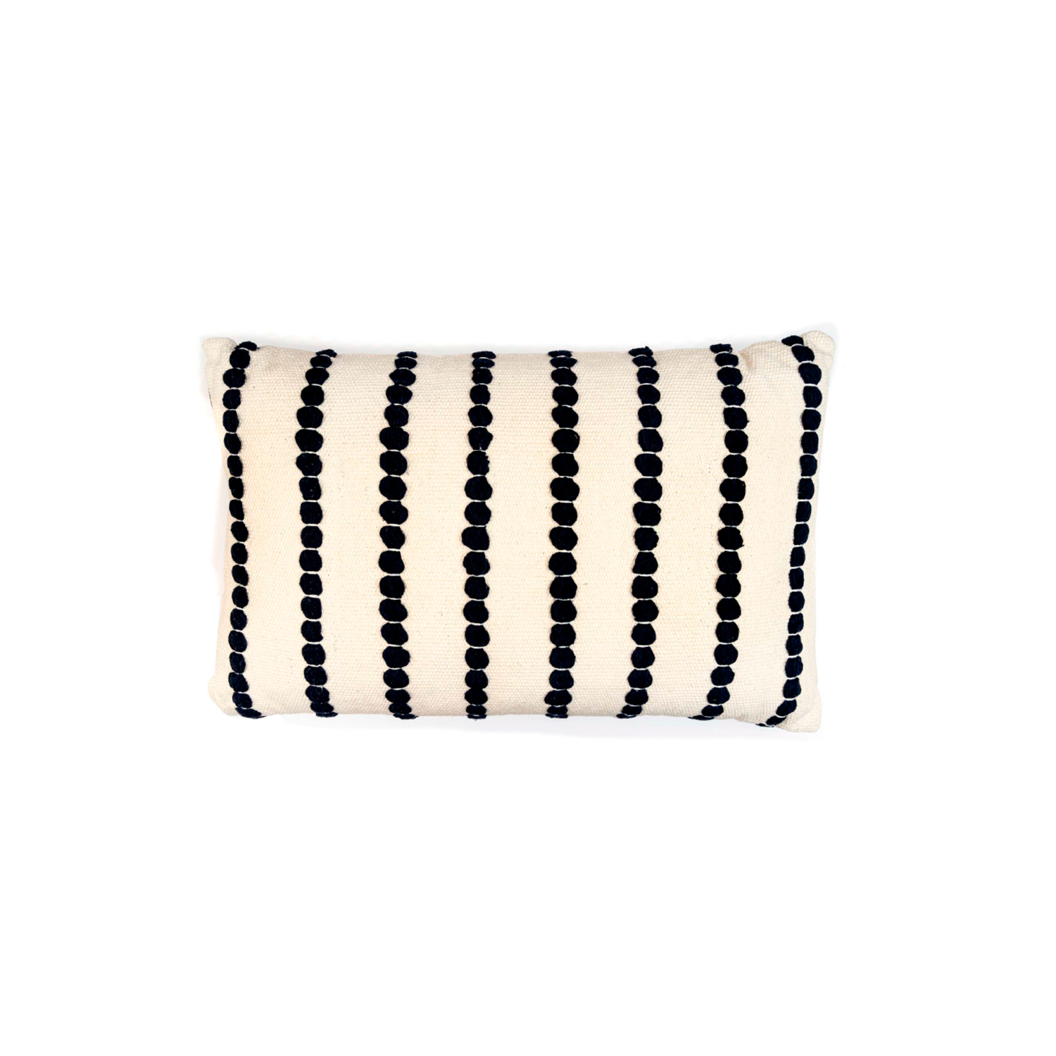 Lua Branca Cotton Cushion Large - The Flame Sustainable Collection is made from a selection of organic cotton fibres, eco-friendly, hand-woven or elaborated using traditional hand-loom techniques. Carefully knitted within a trained community of women that found in their craft a way to provide their families.  This collection combines Elisa Atheniense mission for responsible sourcing and manufacturing. Each piece is meticulously hand-loom by artisans who practised methods with age-old techniques. With a minimal electricity impact, each item crafted is therefore unique and exclusive. Weavers and artisans are the ultimate lifelines of Elisa Atheniense Home Products.  The hand woven cotton, washable cushion cover is made in Brazil and the inner cushion is made in the UK.   | Matter of Stuff