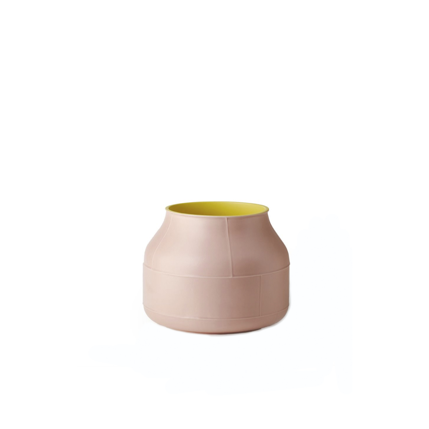 Seam Tub Vase - Tub vase. Cast in white clay. Two-tone matt glaze, yellow on the inside and pink on the outside. Part of Benjamin Hubert's 'Seam' collection, the simple and versatile design distinguishing this ceramic bowl makes it a spot-on choice to serve a variety of different purposes. The delicate and linear details running perpendicularly its sinuous outer surface are obtained through the mould-casting process to achieve a subtle yet superb textural and aesthetic effect. This piece was showcased at the 2019 Milan Design Week.